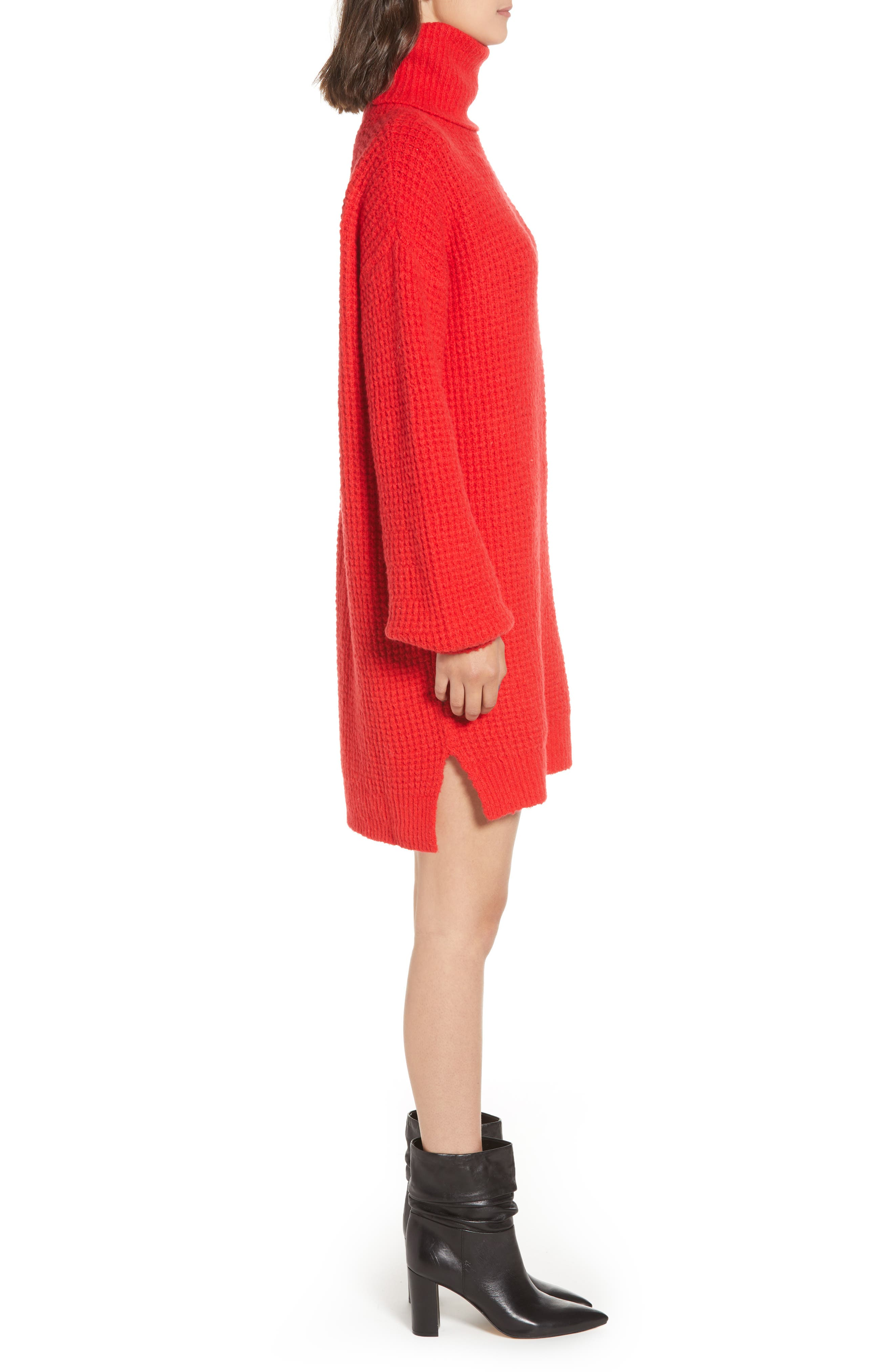 Holly Red Sweater Dress,                             Alternate thumbnail 3, color,                             600