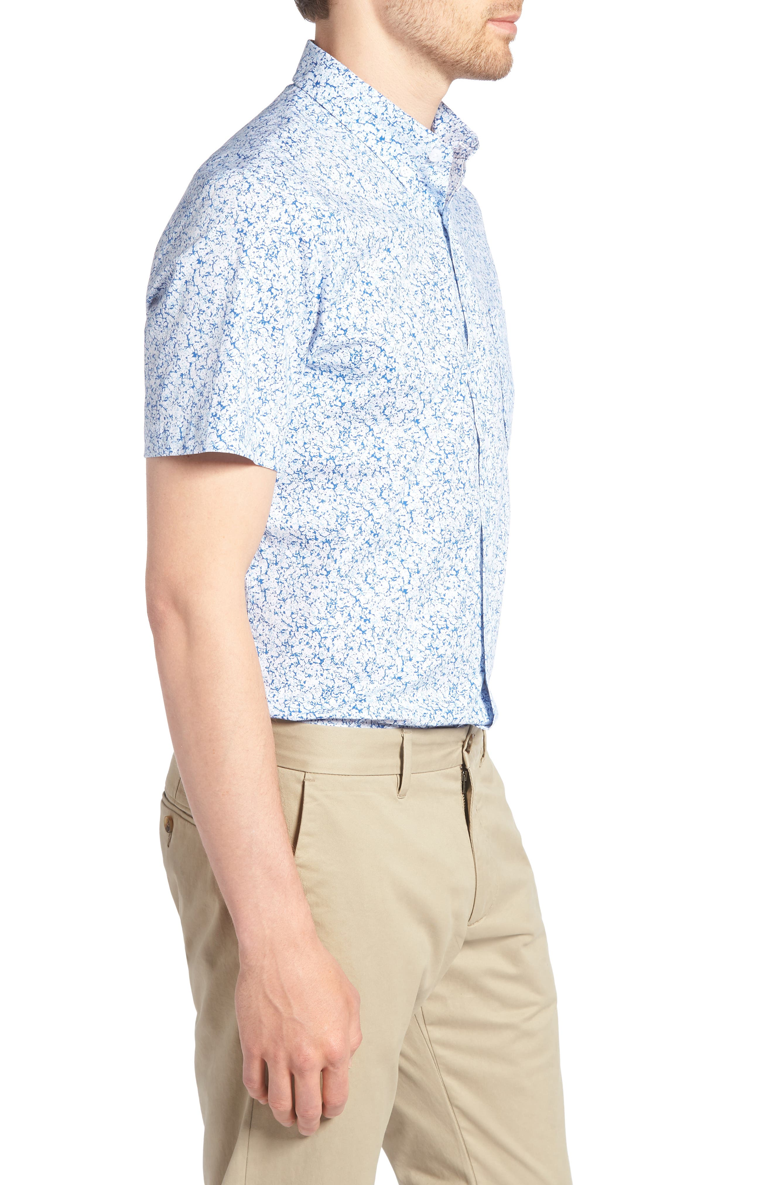 Trim Fit Marble Print Sport Shirt,                             Alternate thumbnail 3, color,                             100