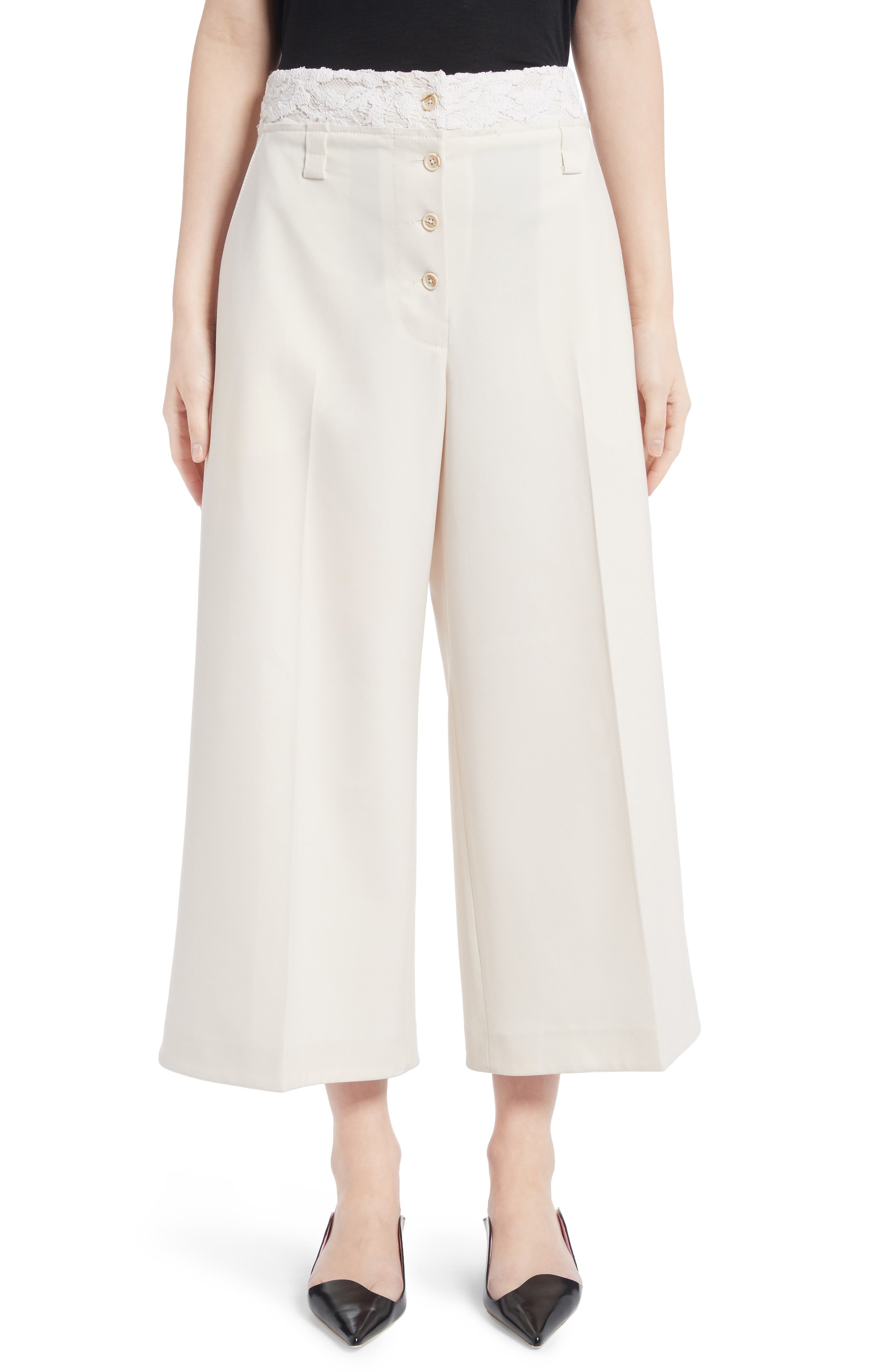 Lace Trim Stretch Wool Culottes,                             Main thumbnail 1, color,                             107
