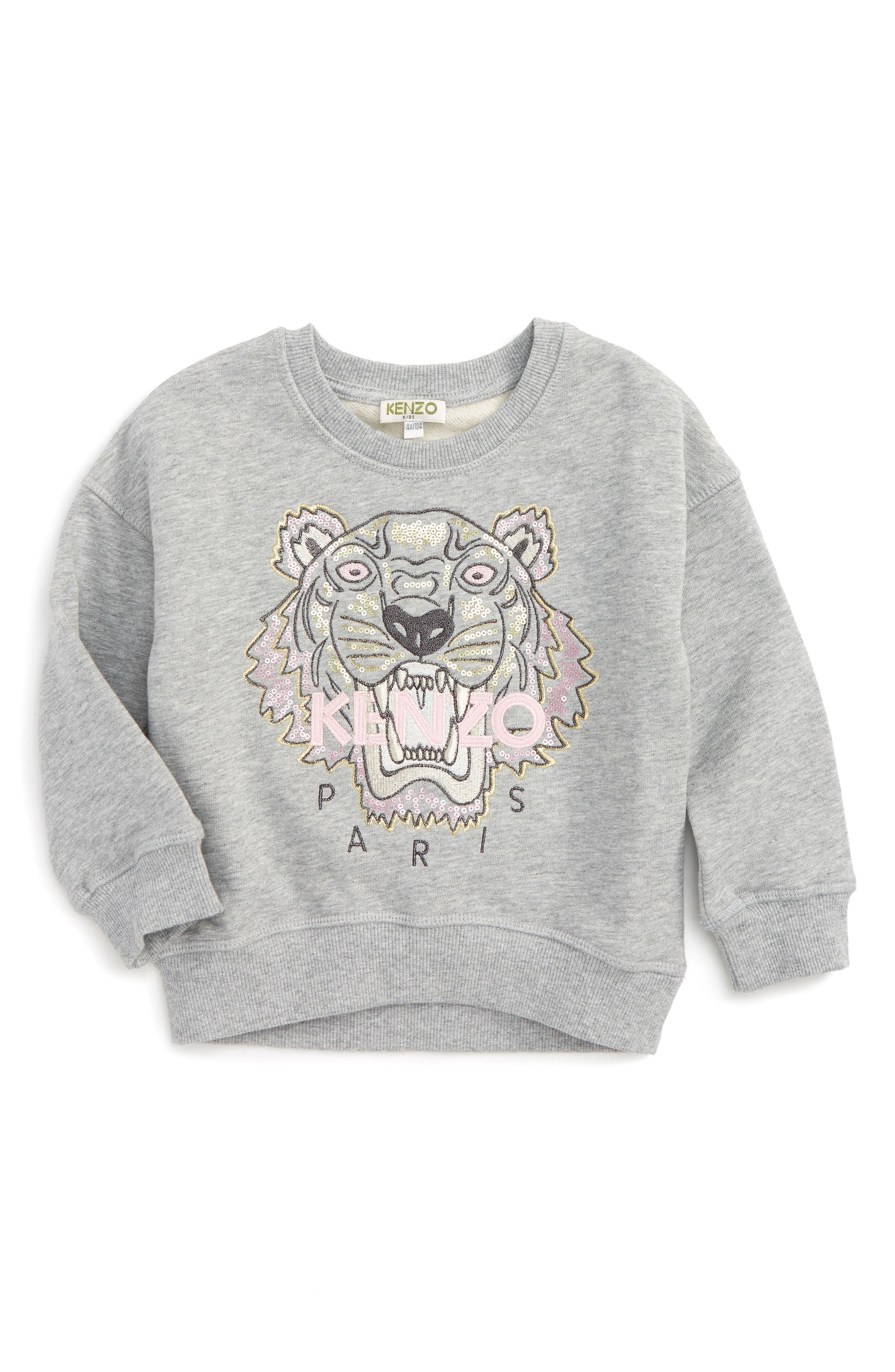 Embroidered Tiger Logo Sweatshirt,                             Main thumbnail 1, color,                             GREY CHINE