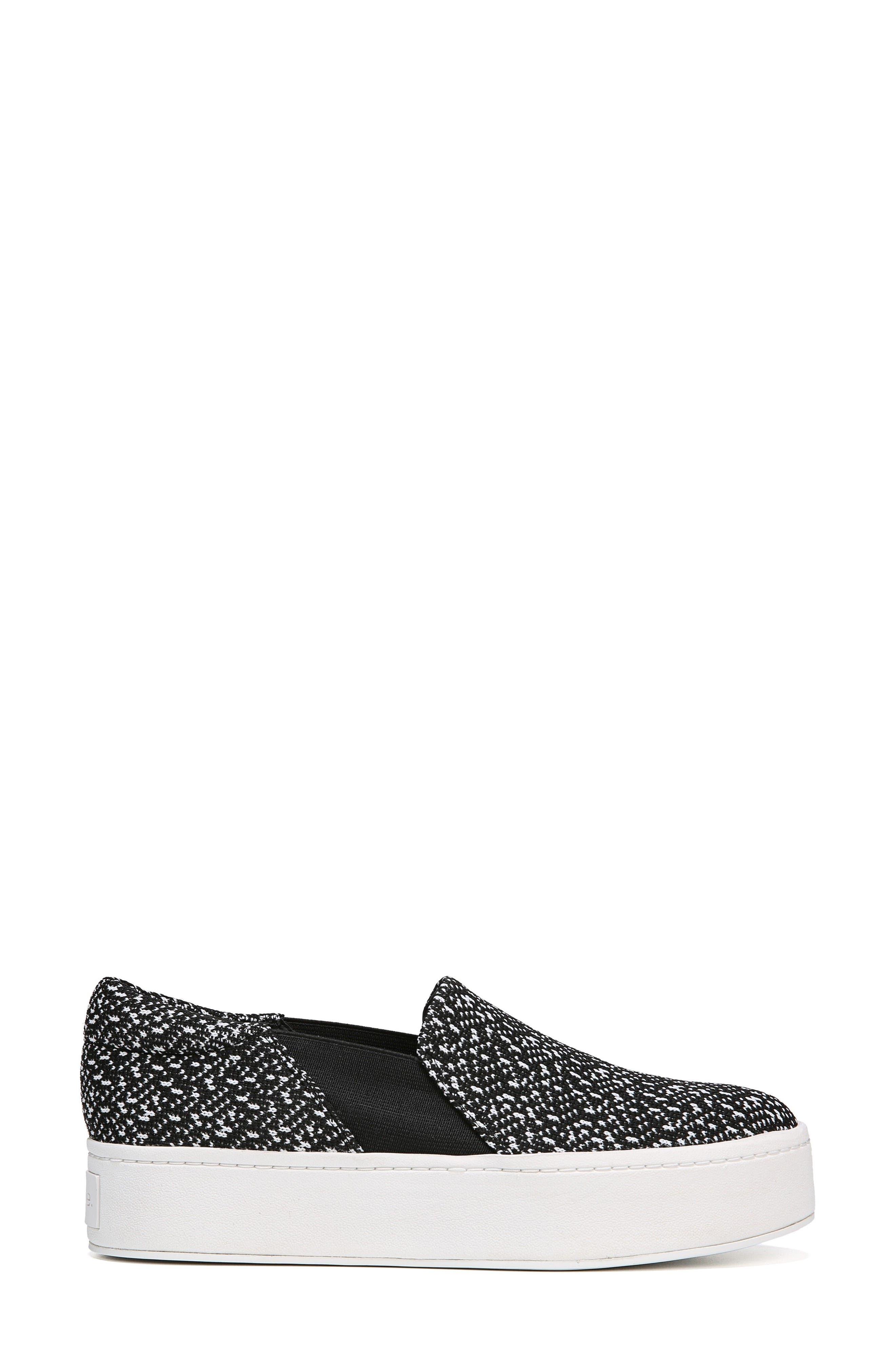Warren Slip-On Sneaker,                             Alternate thumbnail 3, color,                             BLACK/ WHITE