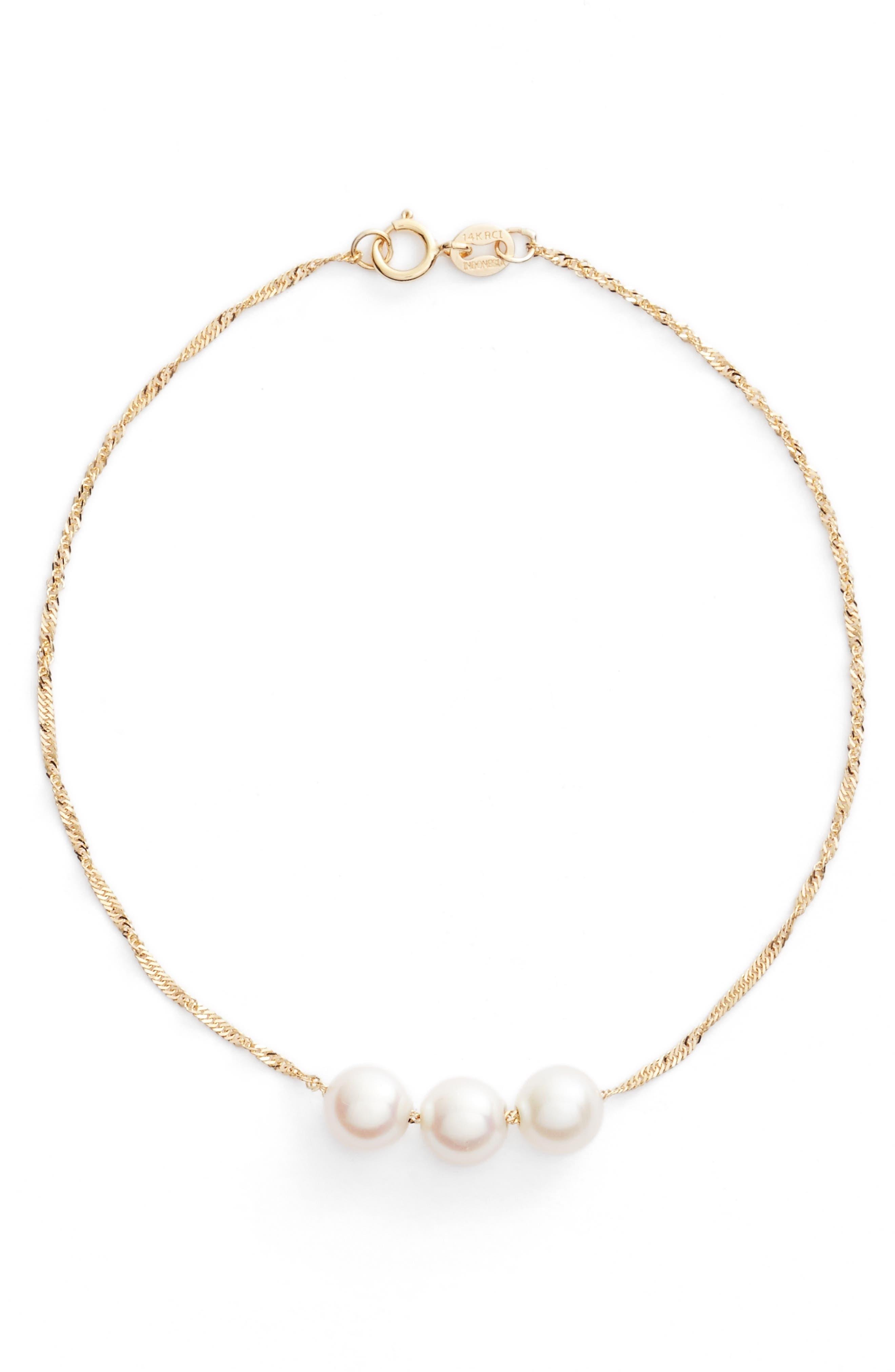 Triple Pearl Line Bracelet,                             Main thumbnail 1, color,                             710