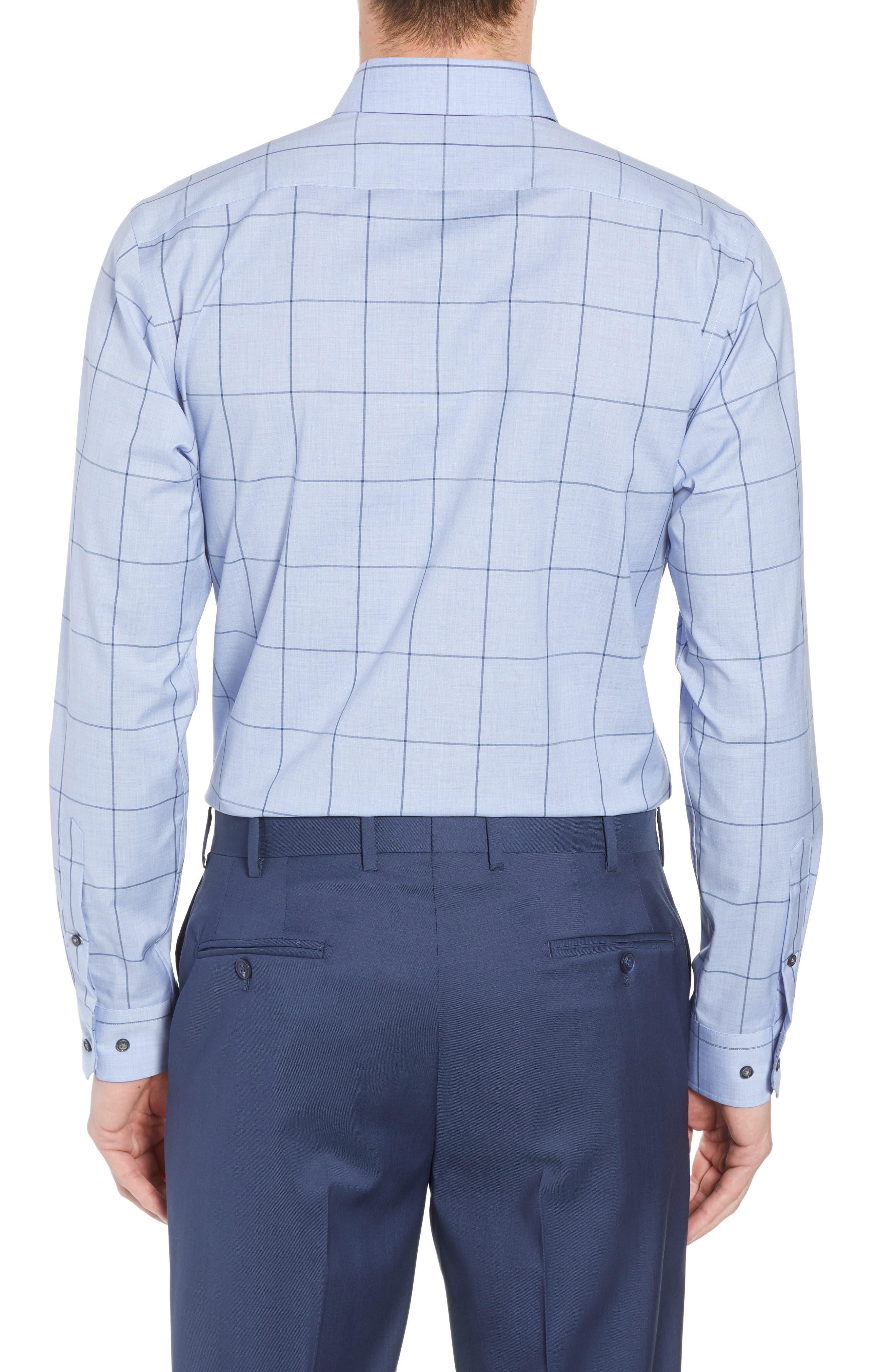 Trim Fit Non-Iron Windowpane Dress Shirt,                             Alternate thumbnail 3, color,                             BLUE HAZE