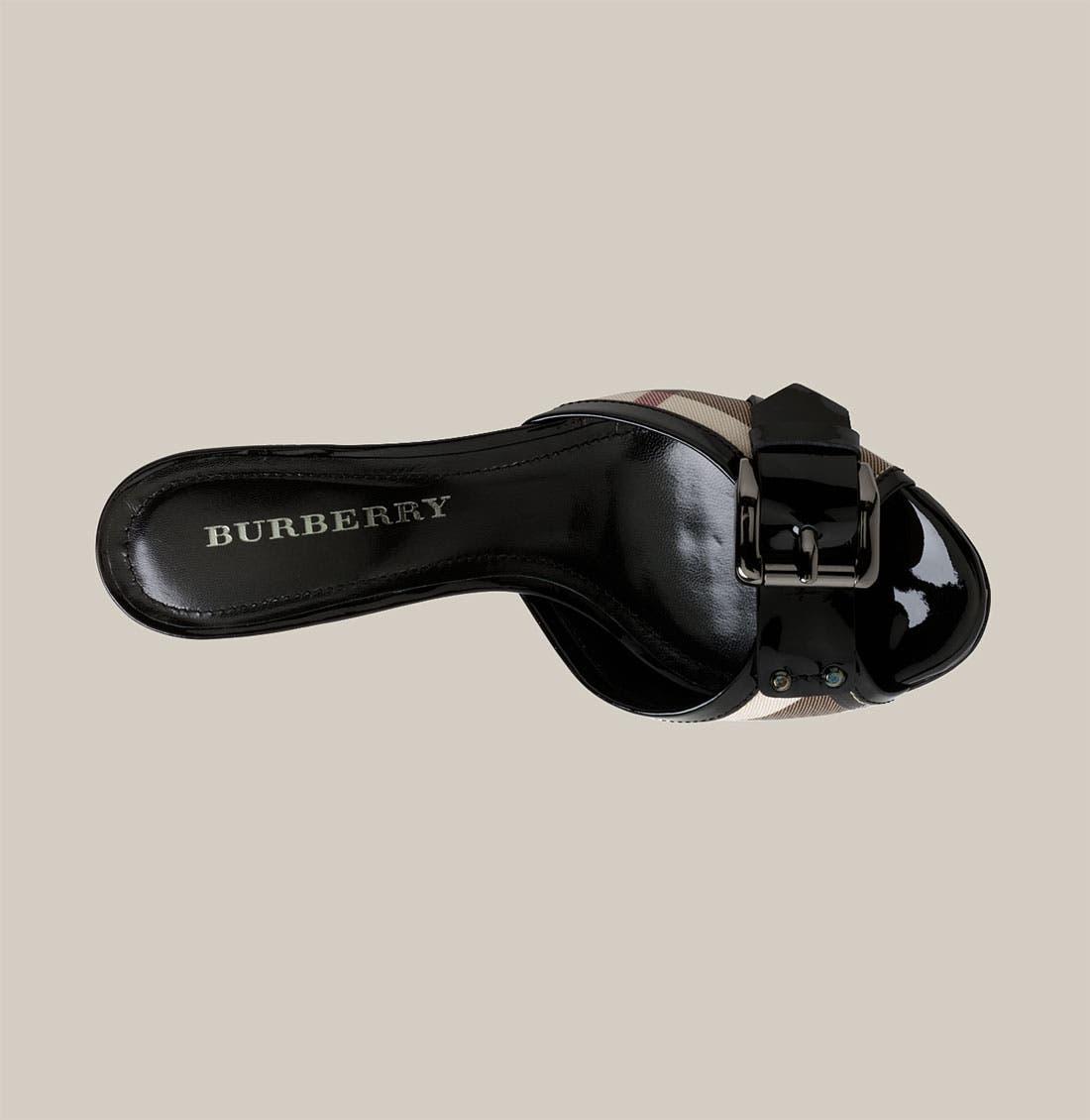 BURBERRY,                             Kitten Heel Slide,                             Alternate thumbnail 3, color,                             001