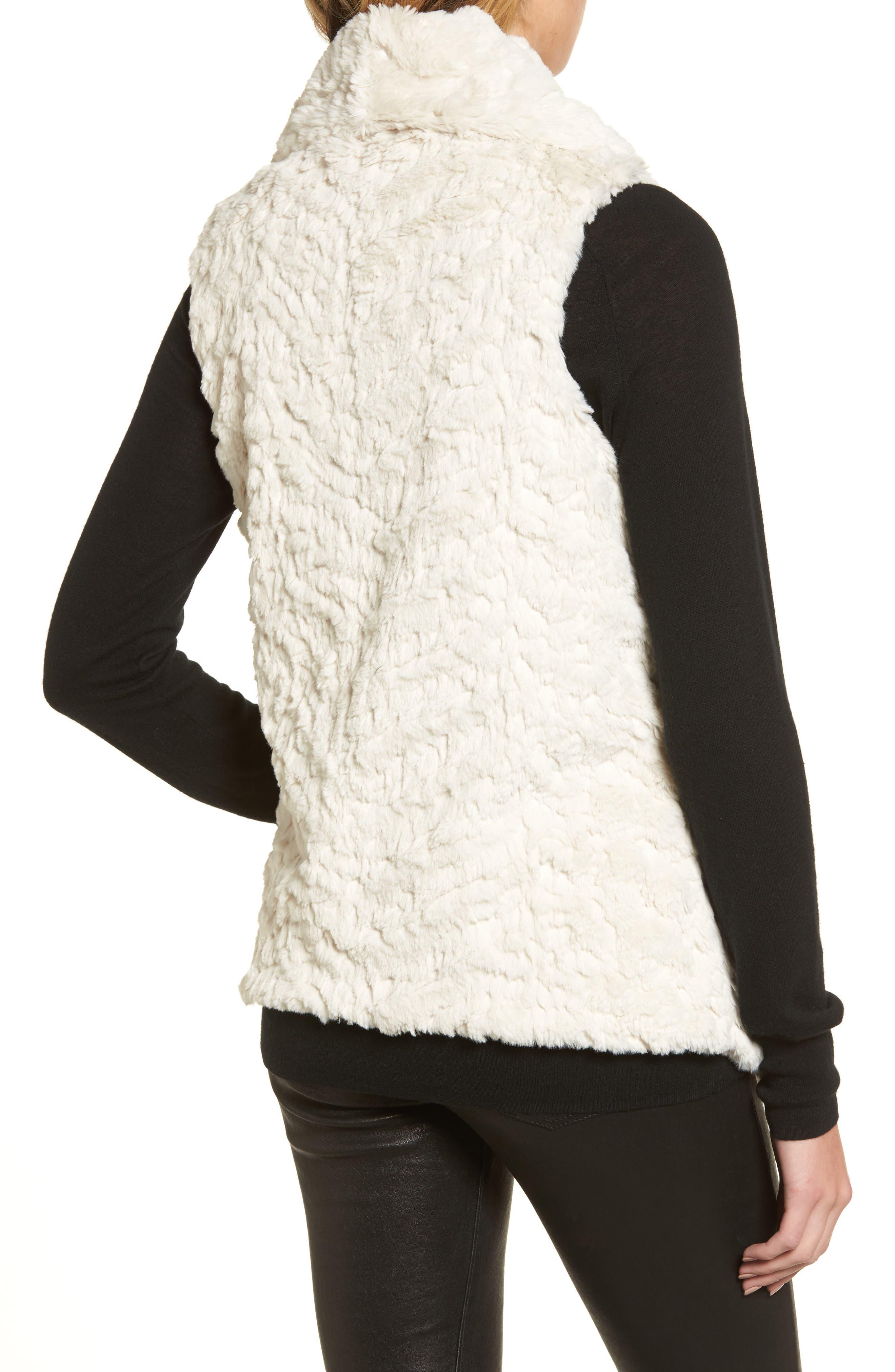 Silky Faux Fur Shawl Collar Vest,                             Alternate thumbnail 2, color,                             100