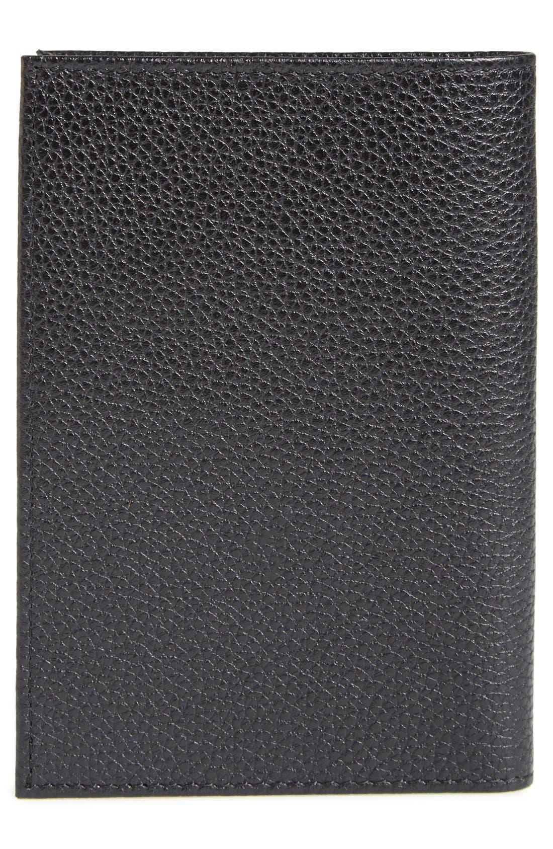 Leather Passport Case,                             Alternate thumbnail 3, color,                             BLACK