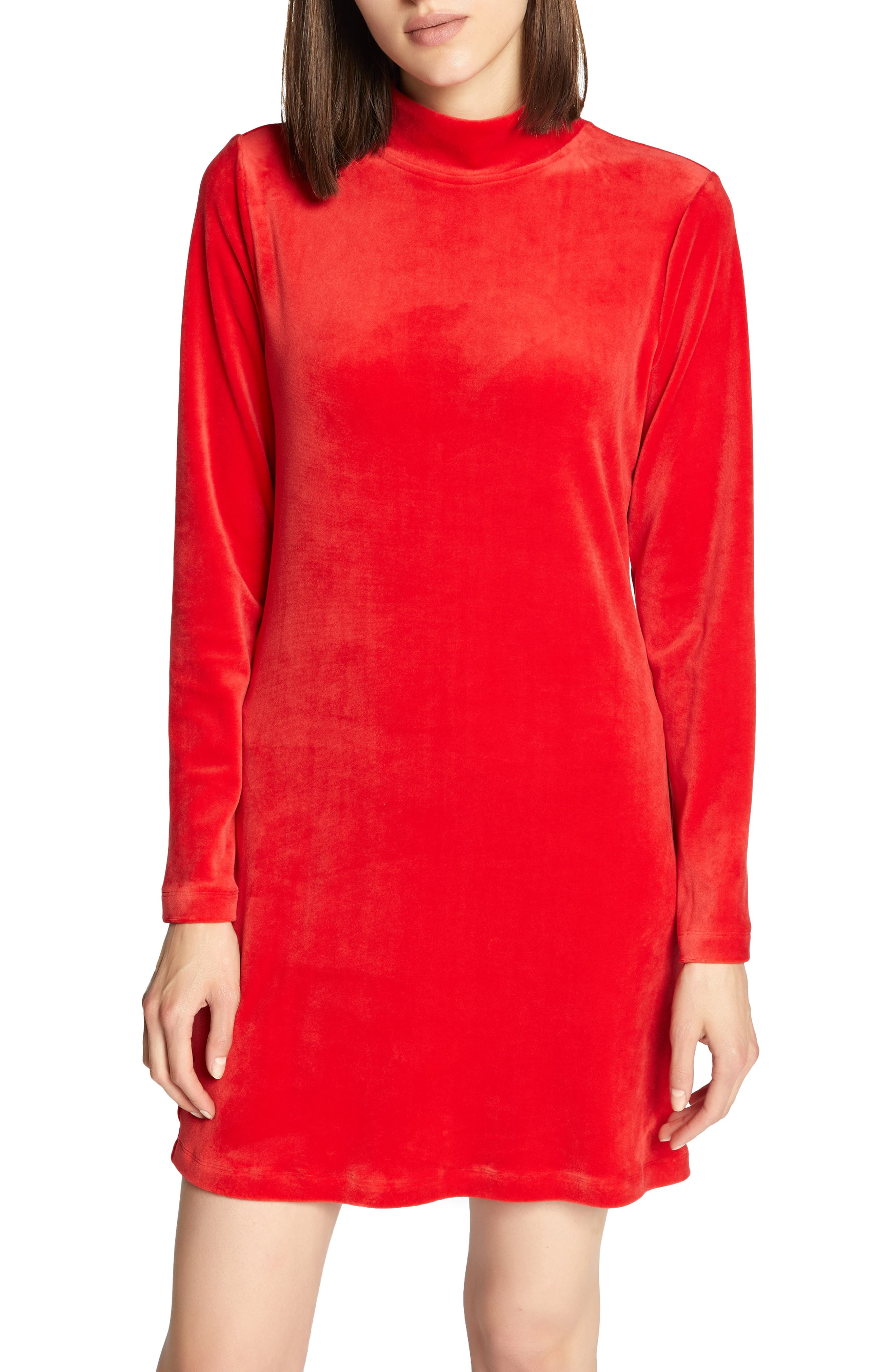 Sanctuary Endless Night Velour Dress, Red