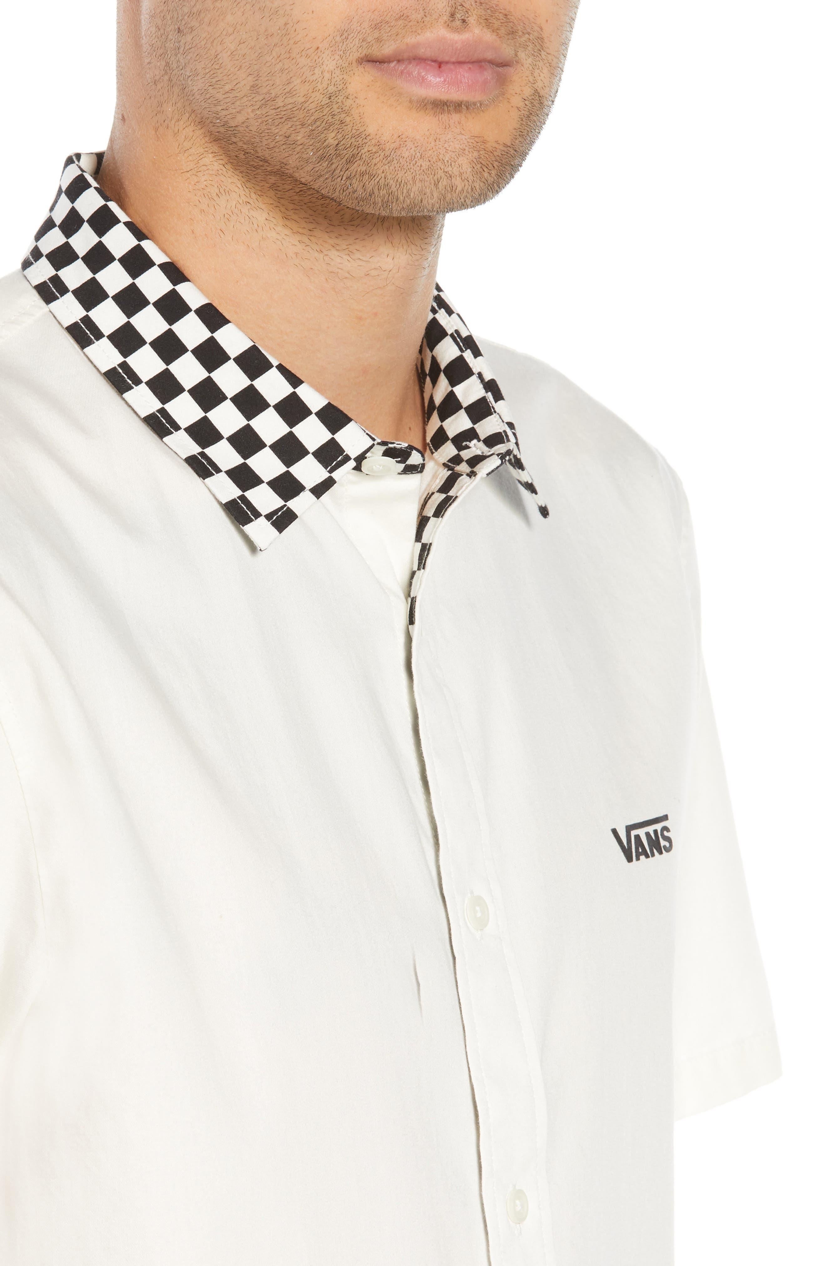 Check Collar Short Sleeve Shirt,                             Alternate thumbnail 2, color,                             OFF WHITE