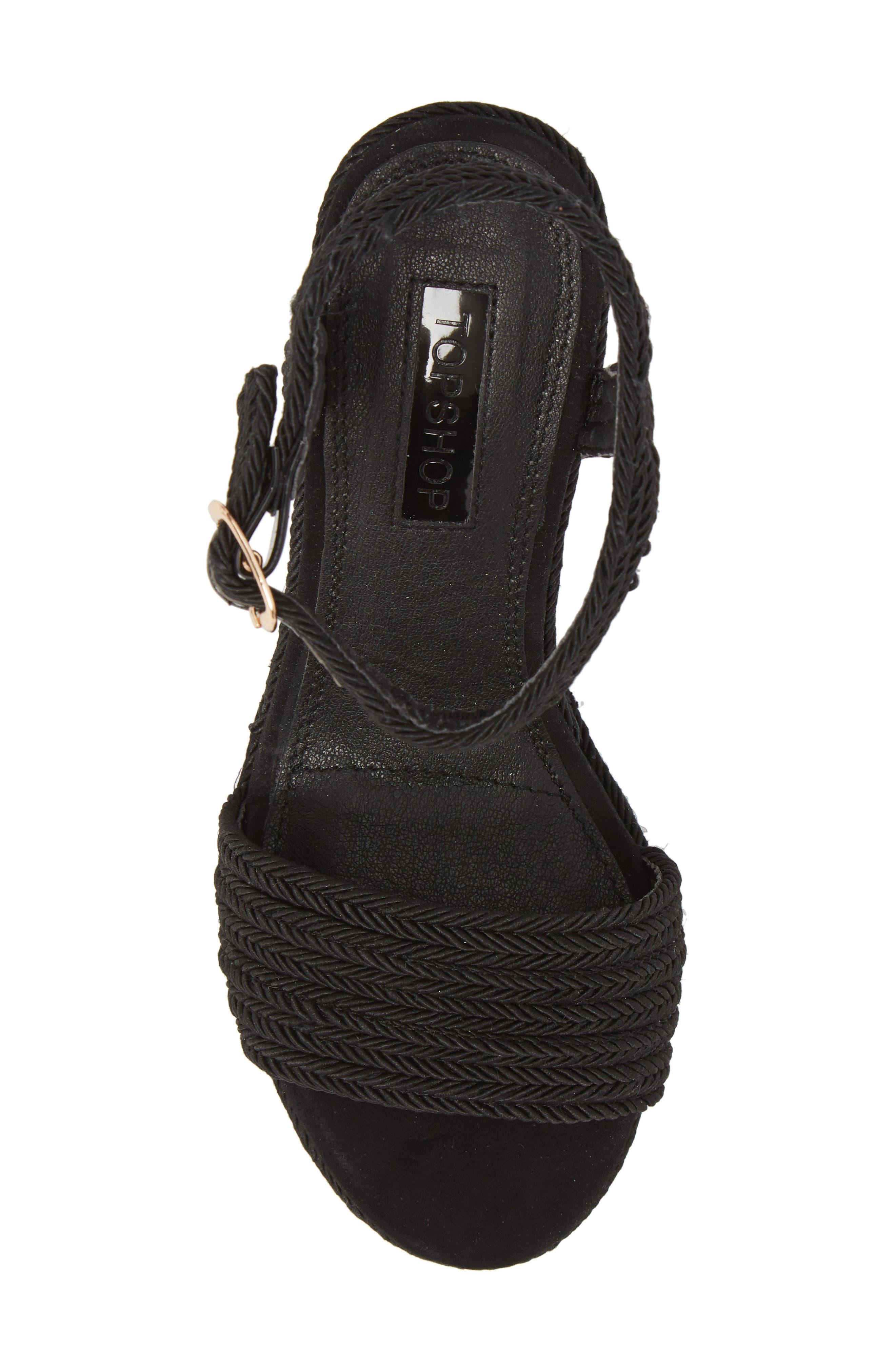 Wild Rope Platform Wedge Sandal,                             Alternate thumbnail 5, color,                             BLACK MULTI