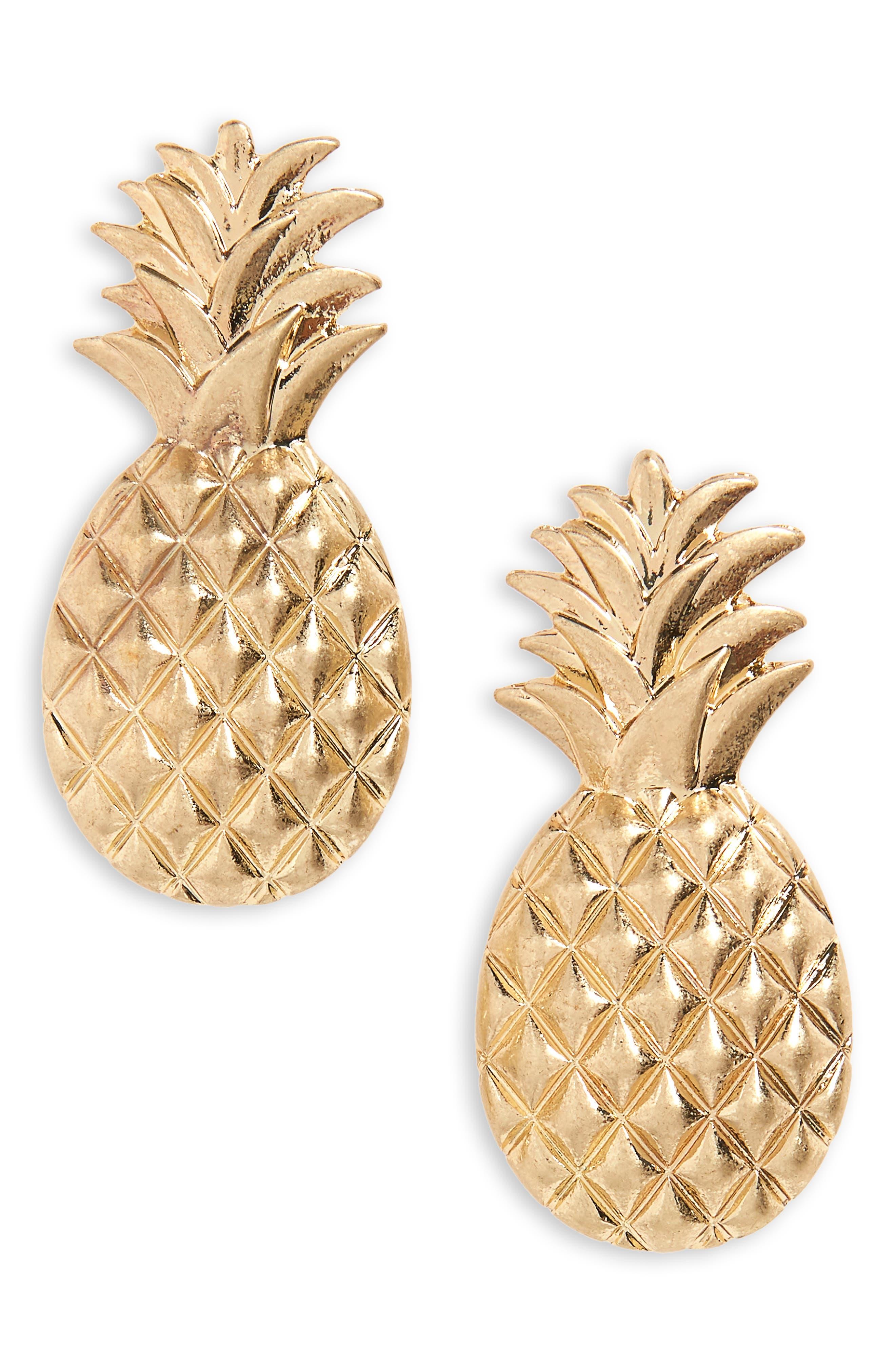 Large Pineapple Stud Earrings,                         Main,                         color, 710