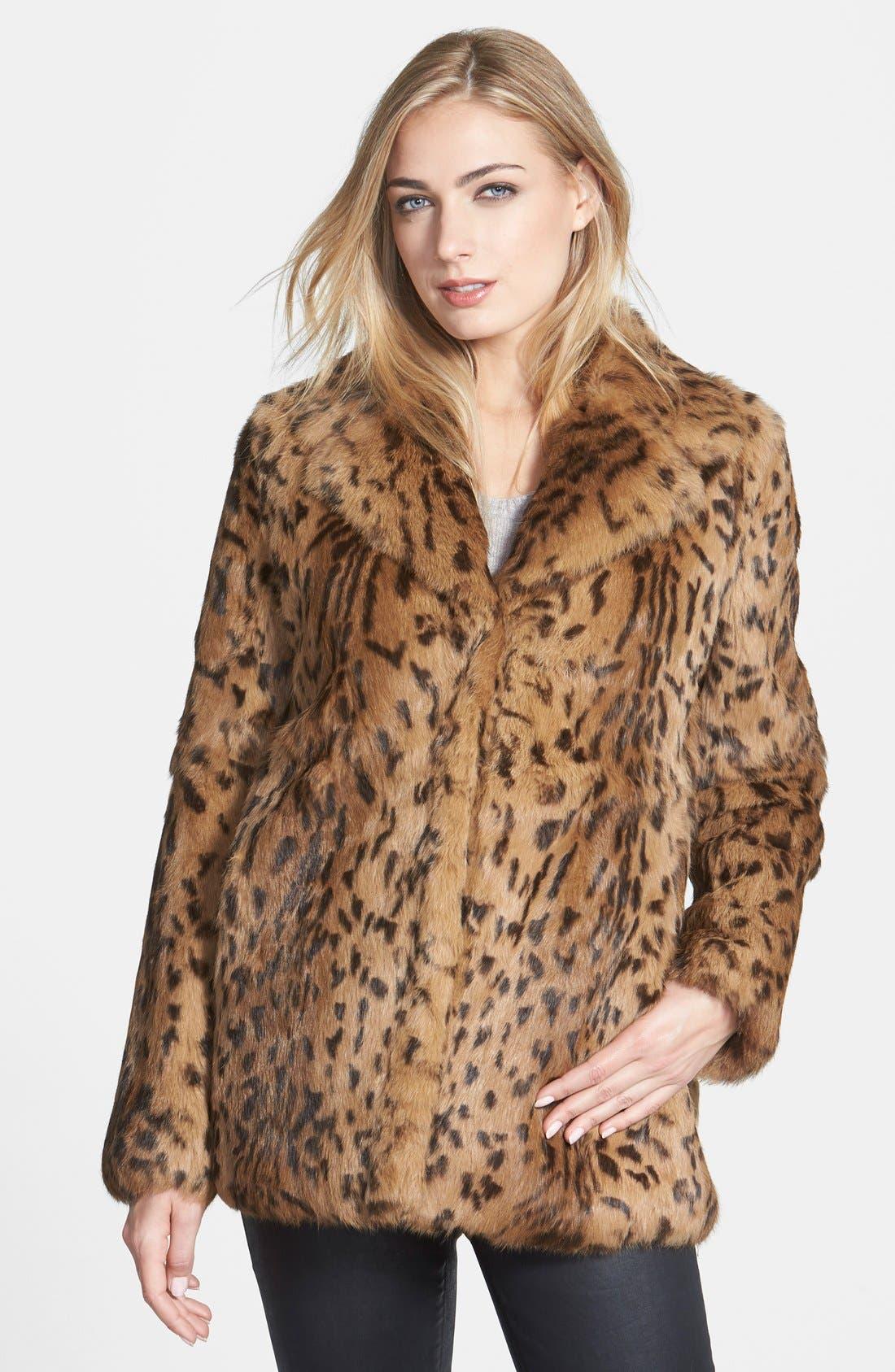 'Jessica' Leopard Print Genuine Rabbit Fur Jacket, Main, color, 200