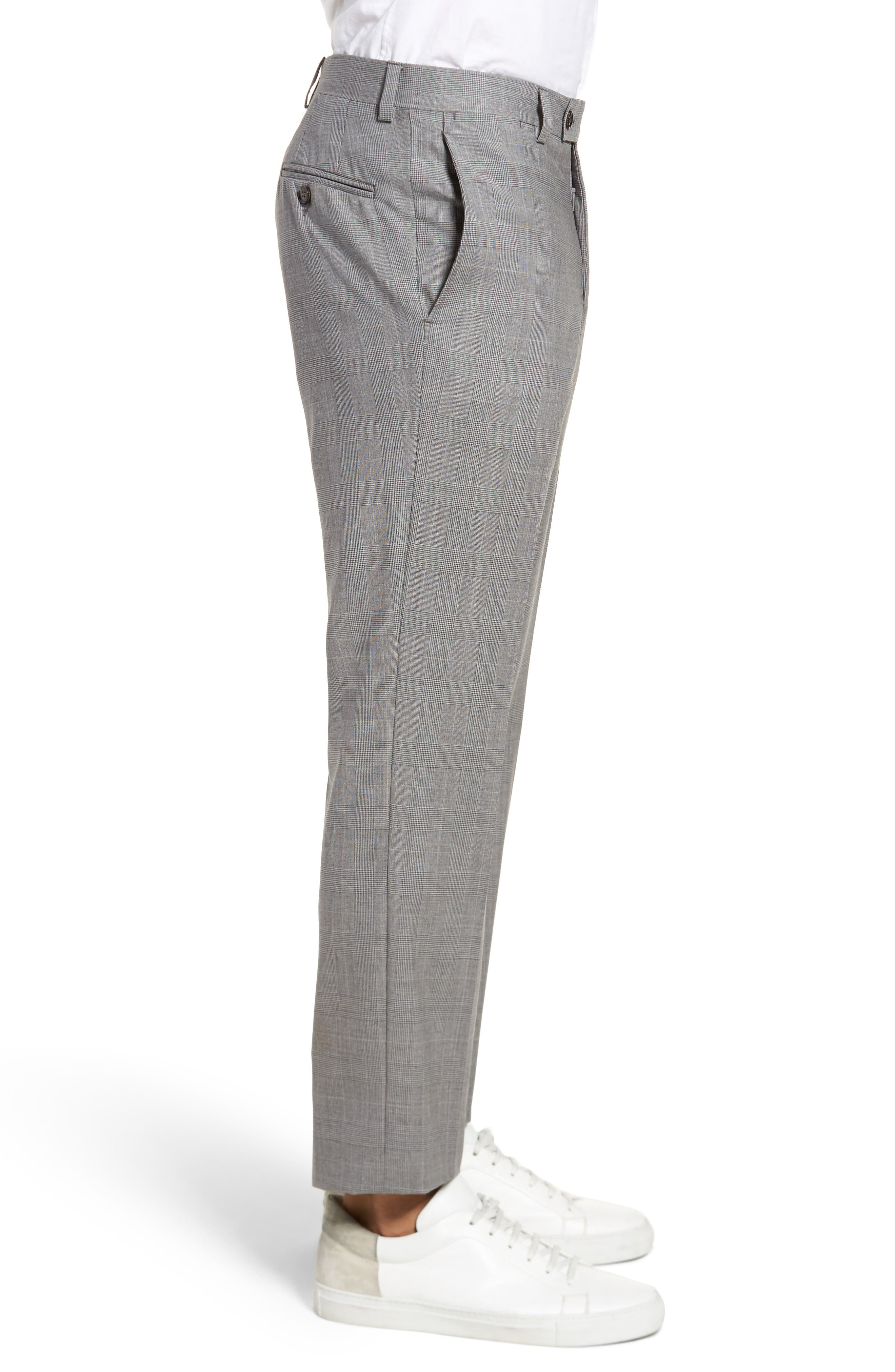Jefferson Flat Front Check Wool Trousers,                             Alternate thumbnail 8, color,