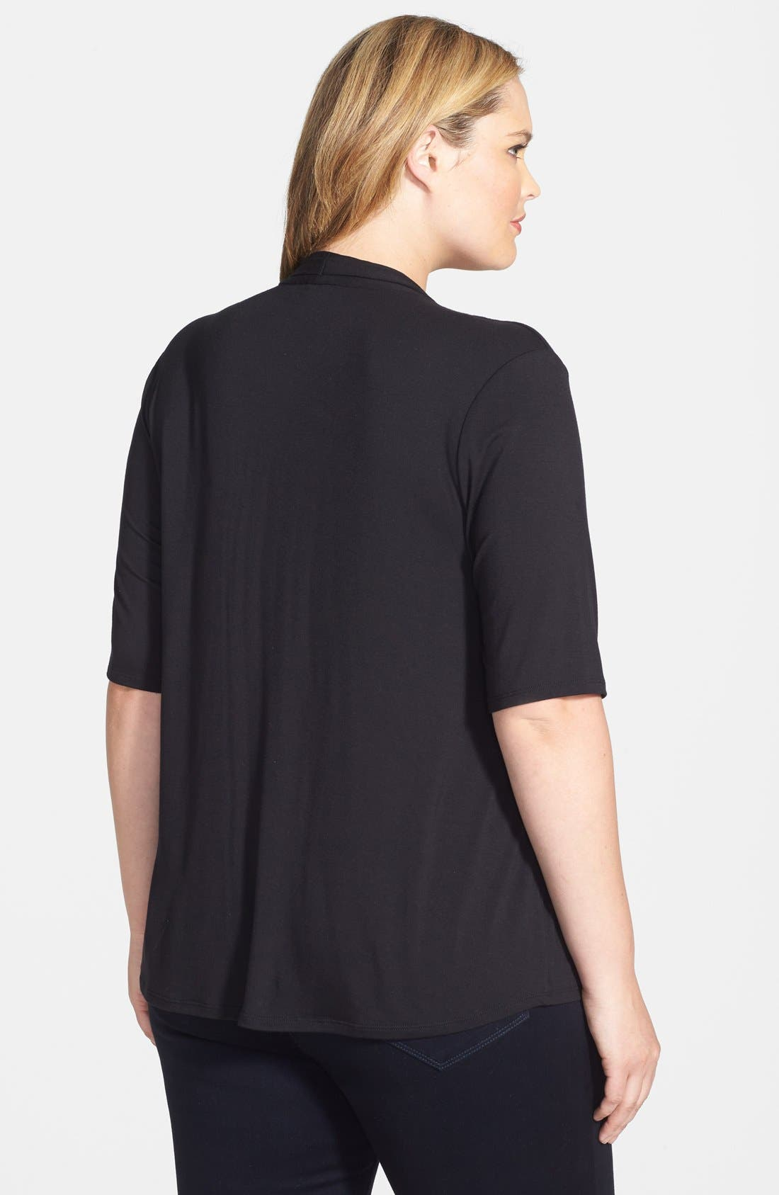 Elbow Sleeve V-Neck Jersey Top,                             Alternate thumbnail 2, color,                             001