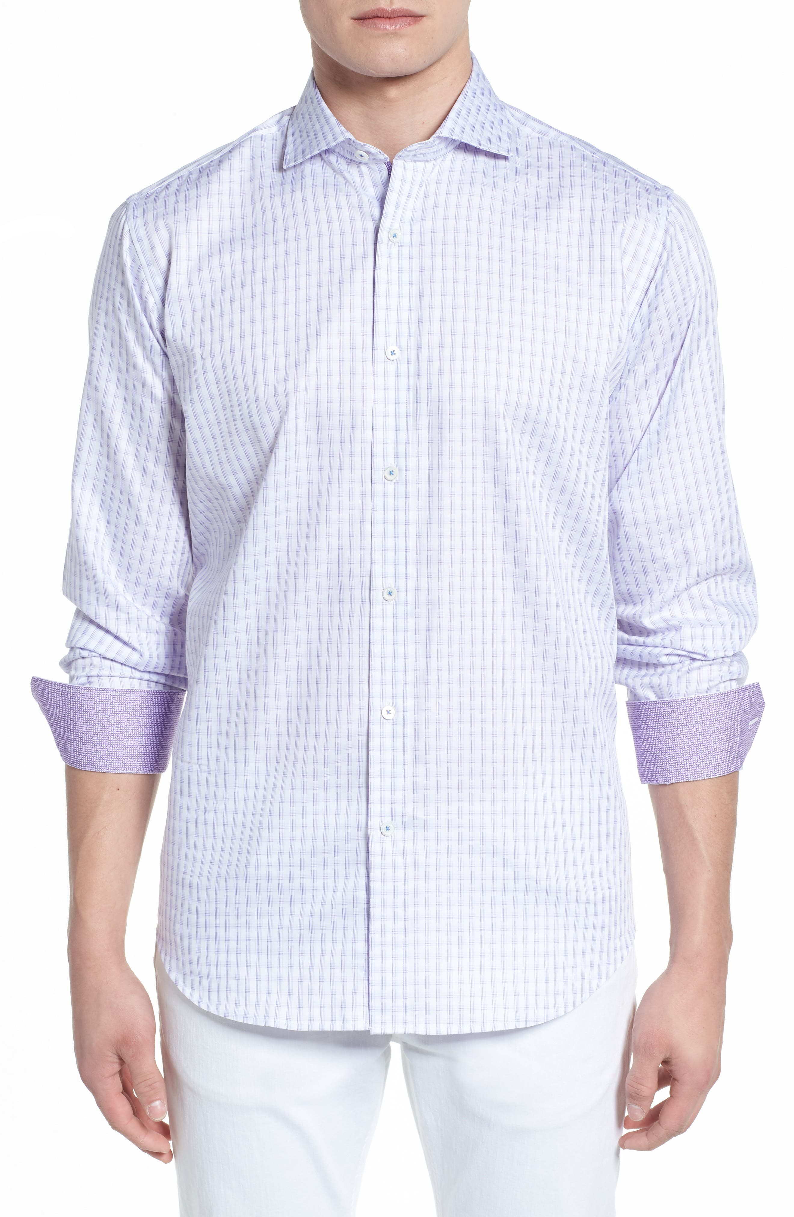 Modern Check Classic Fit Sport Shirt,                         Main,                         color, LILAC