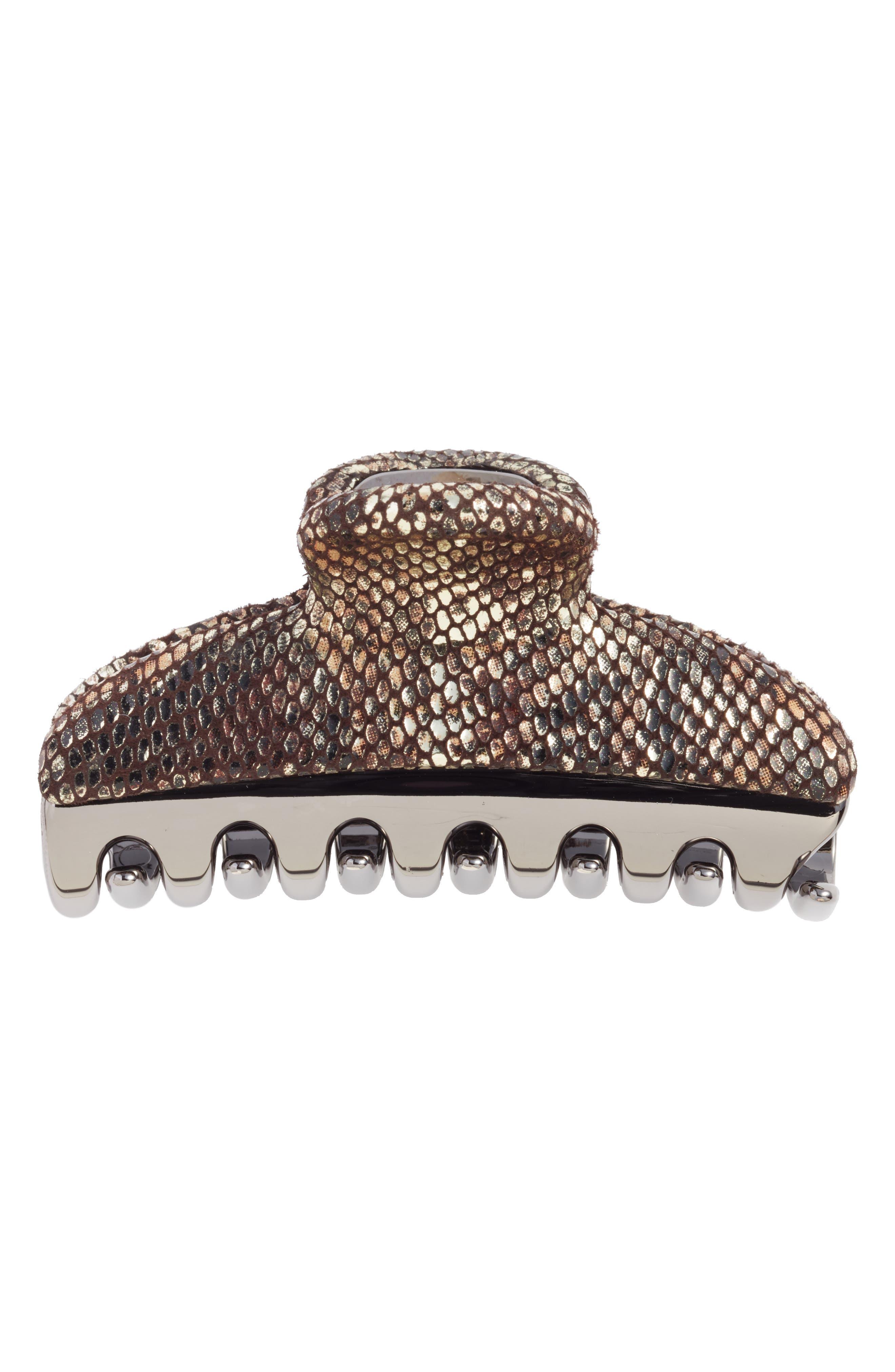 ALEXANDRE DE PARIS,                             Vendome Python Embossed Leather Hair Clip,                             Alternate thumbnail 2, color,                             020