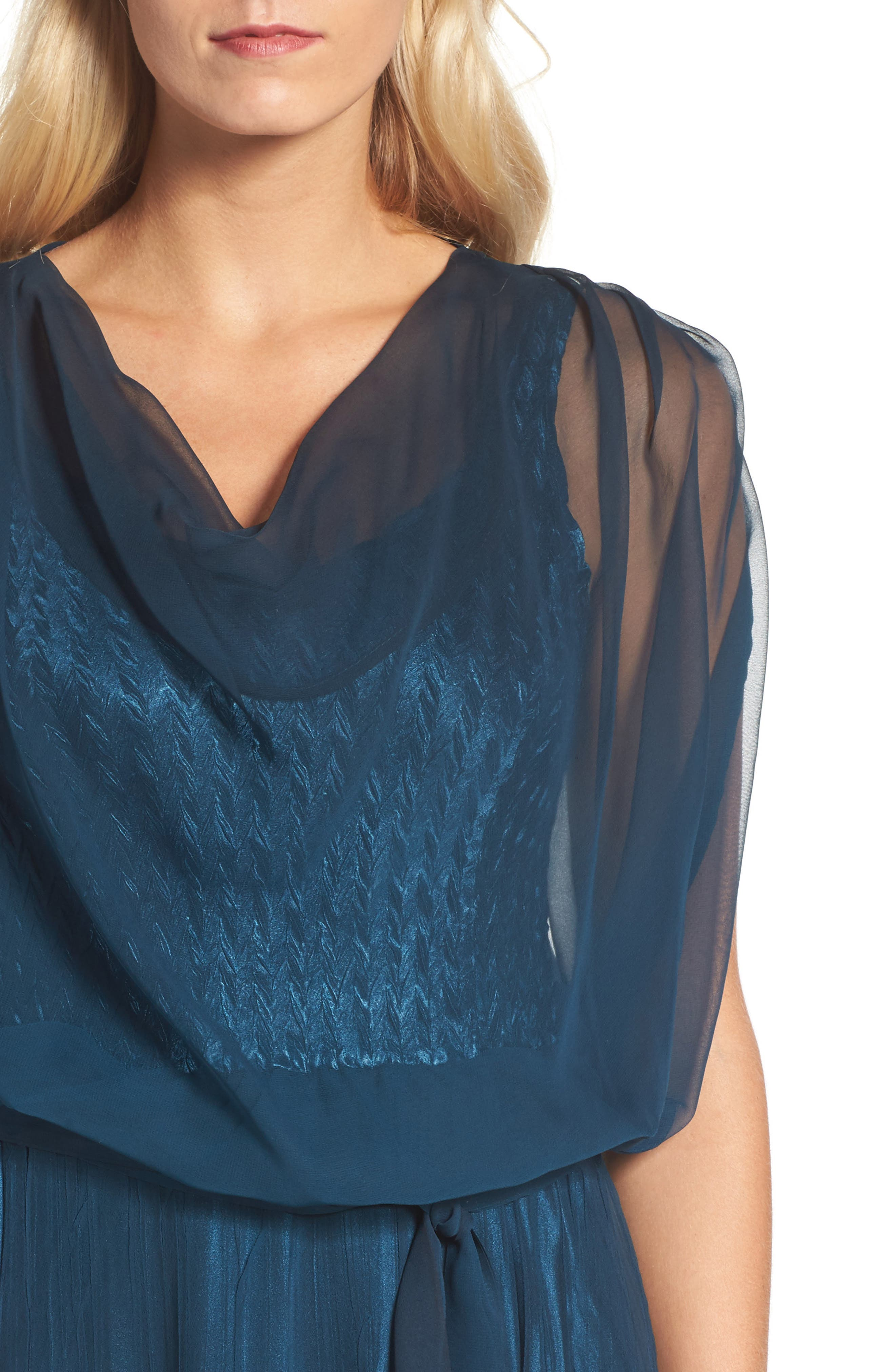 Chiffon Overlay Long Blouson Dress,                             Alternate thumbnail 4, color,                             400