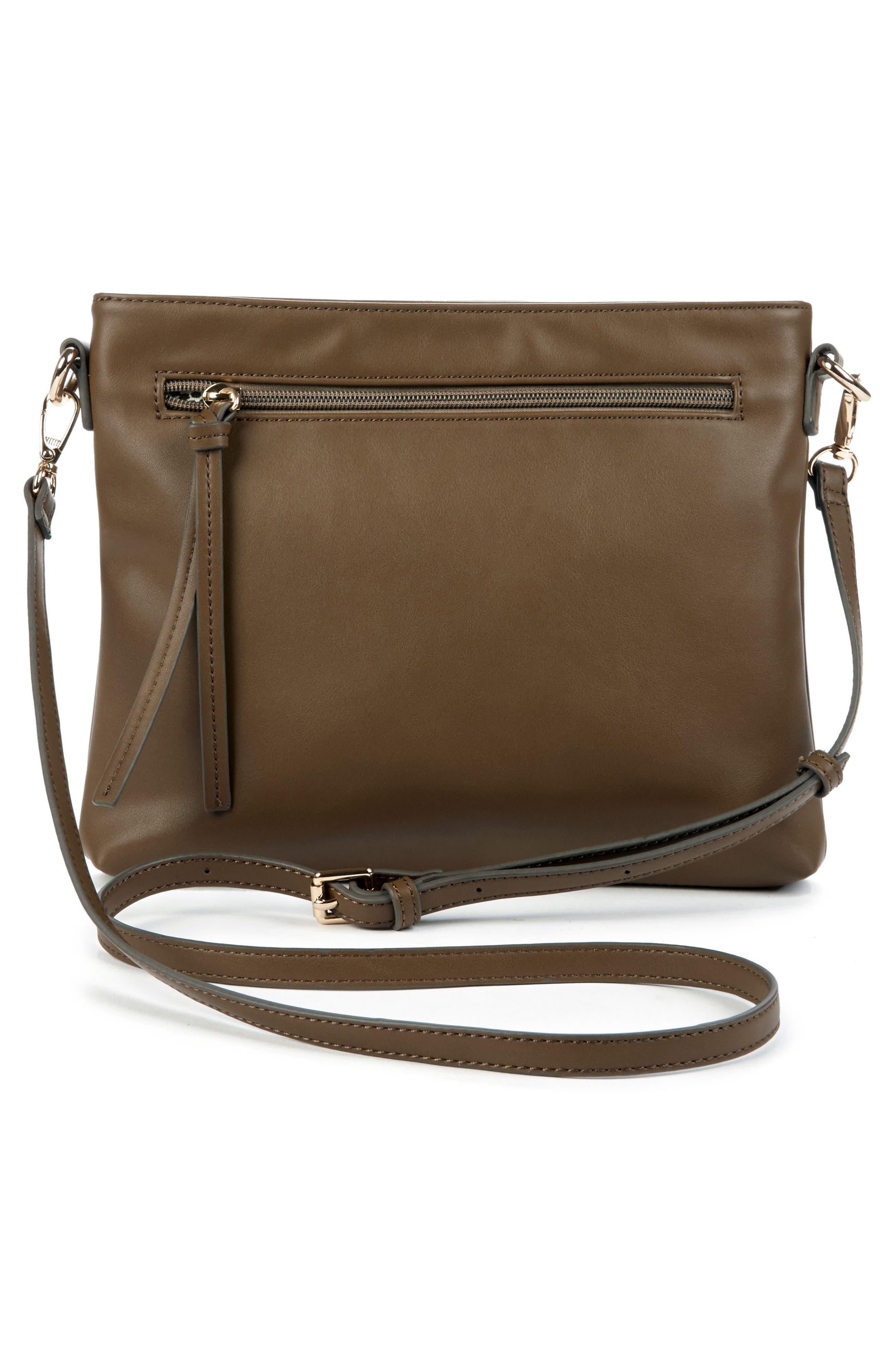 Flat Faux Leather Crossbody Bag,                             Alternate thumbnail 8, color,