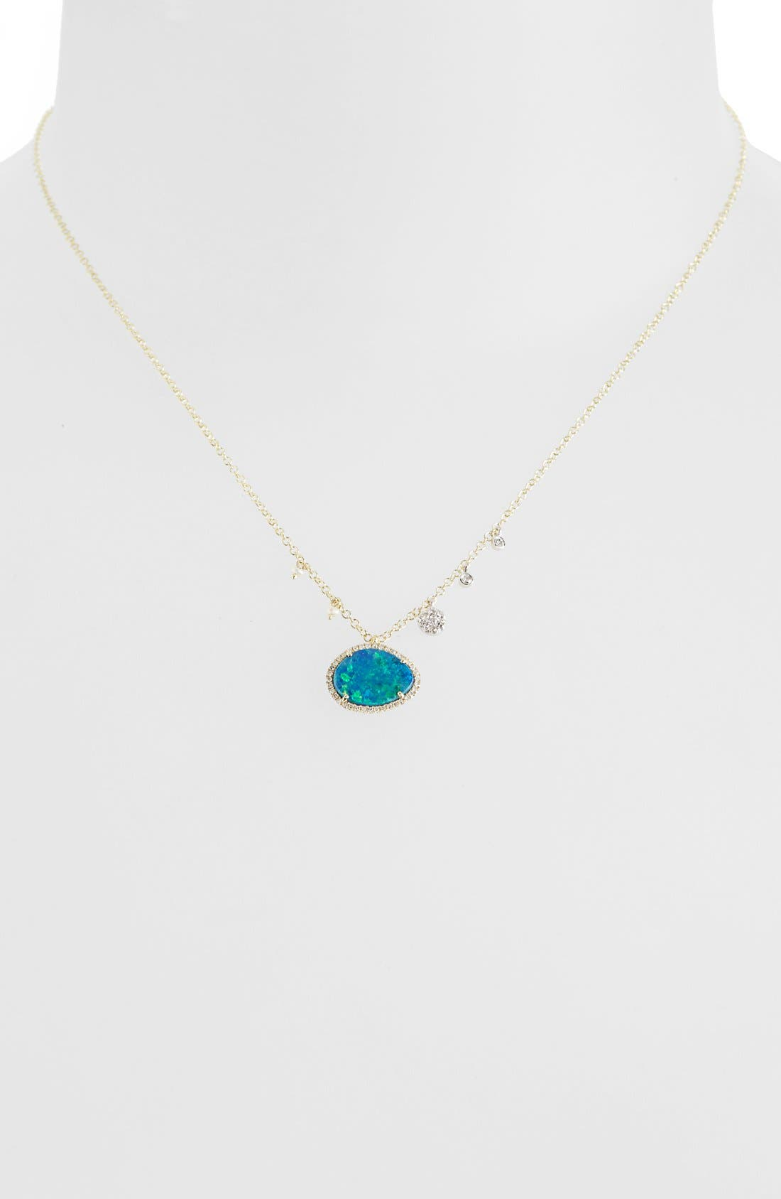 Stone Pendant Necklace,                             Alternate thumbnail 2, color,                             YELLOW GOLD/ BLUE OPAL
