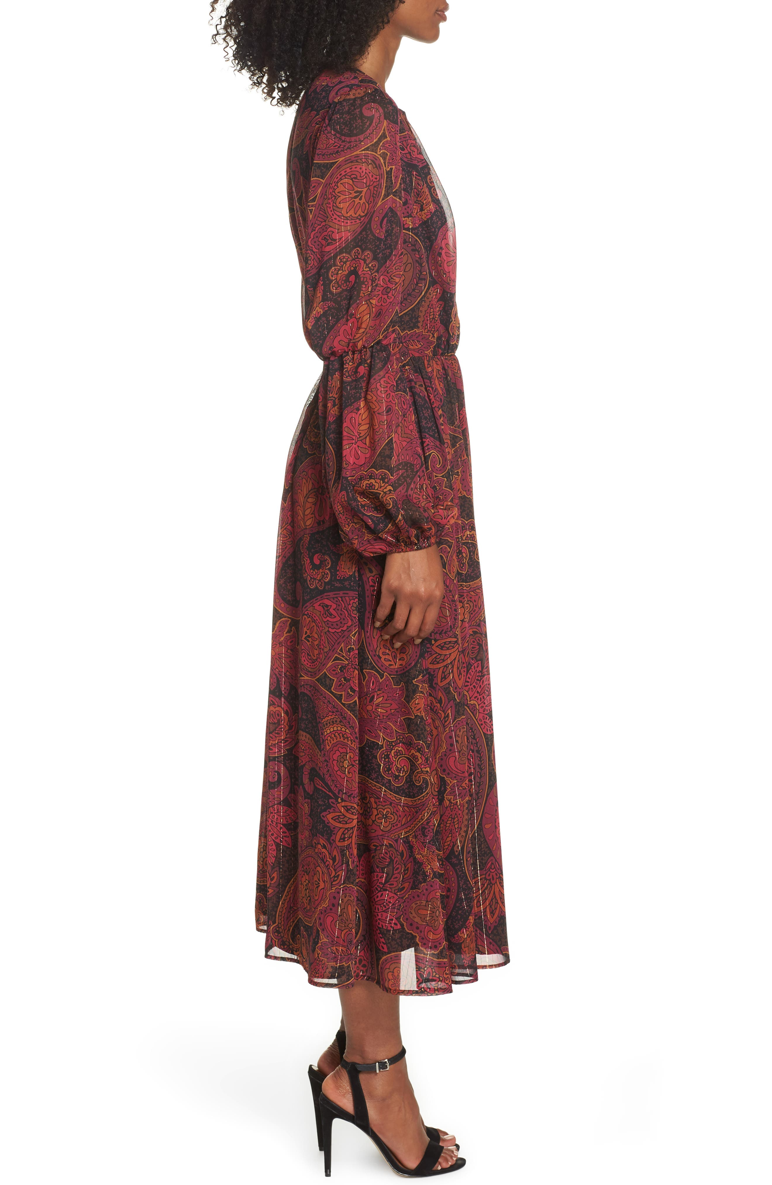 Double Puff Sleeve Midi Dress,                             Alternate thumbnail 3, color,                             BLACK / CABERNET