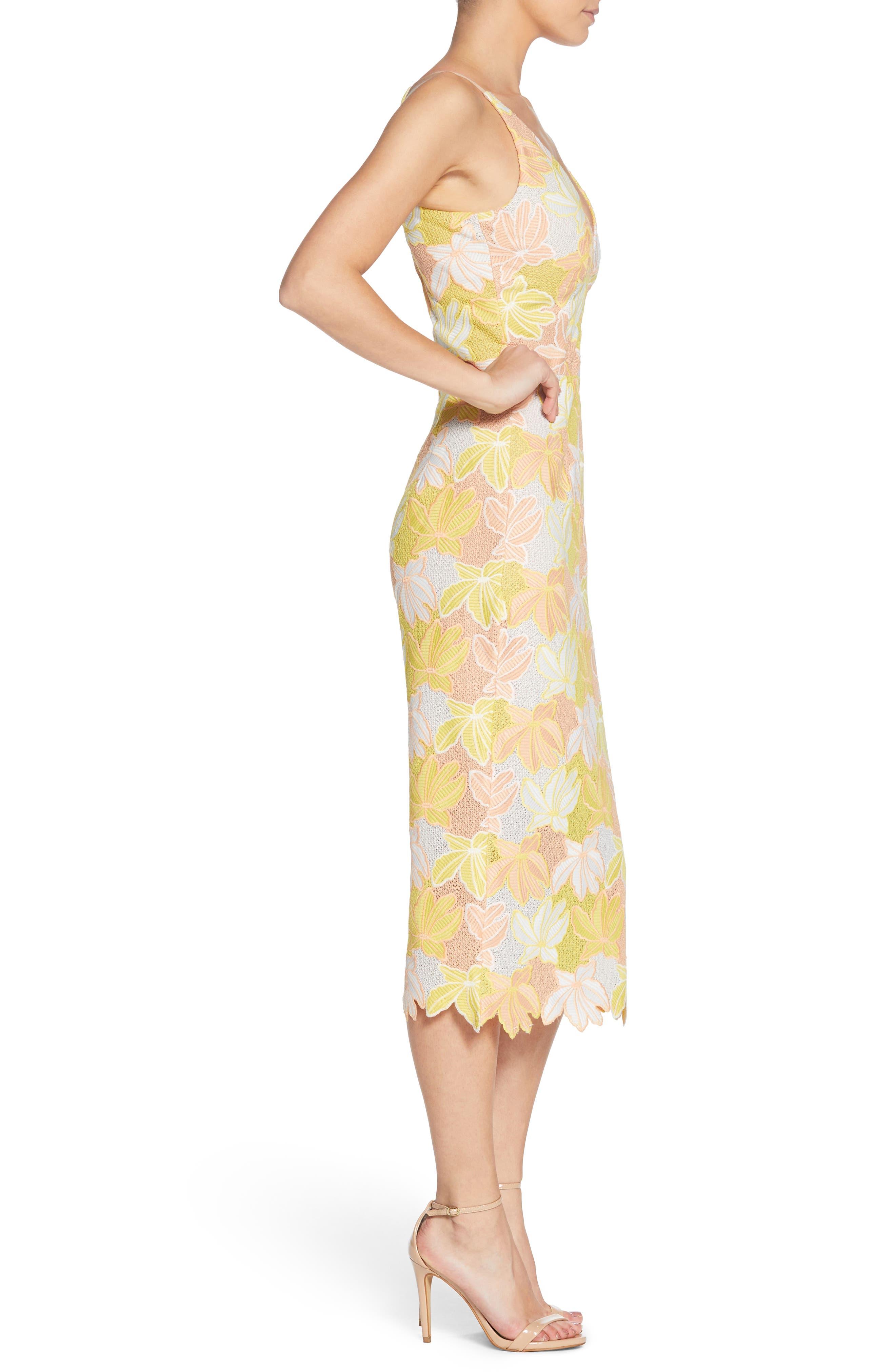 Aurora Lace Midi Dress,                             Alternate thumbnail 3, color,                             745