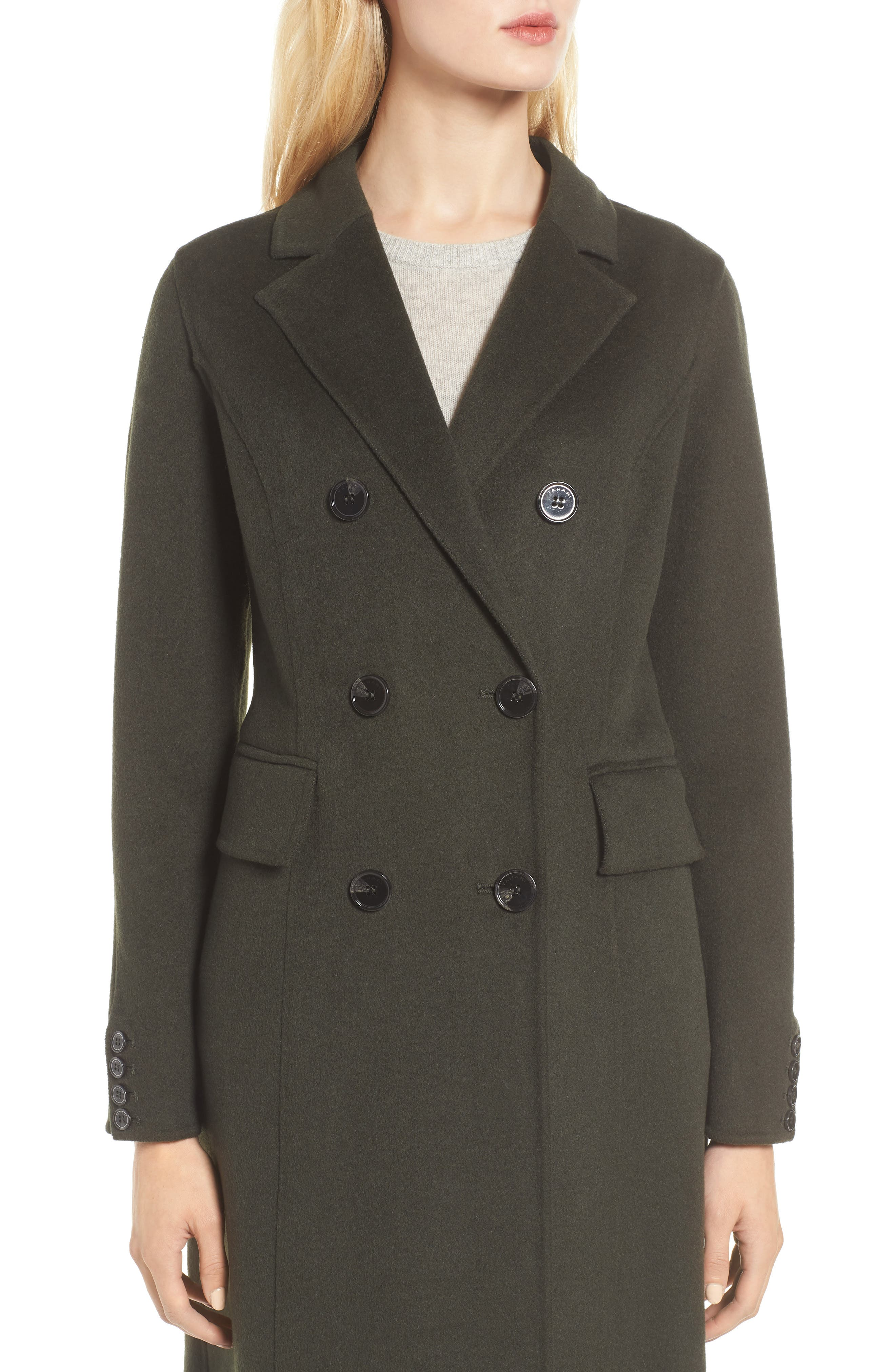 Taylor Double Breasted Wool Coat,                             Alternate thumbnail 4, color,                             300