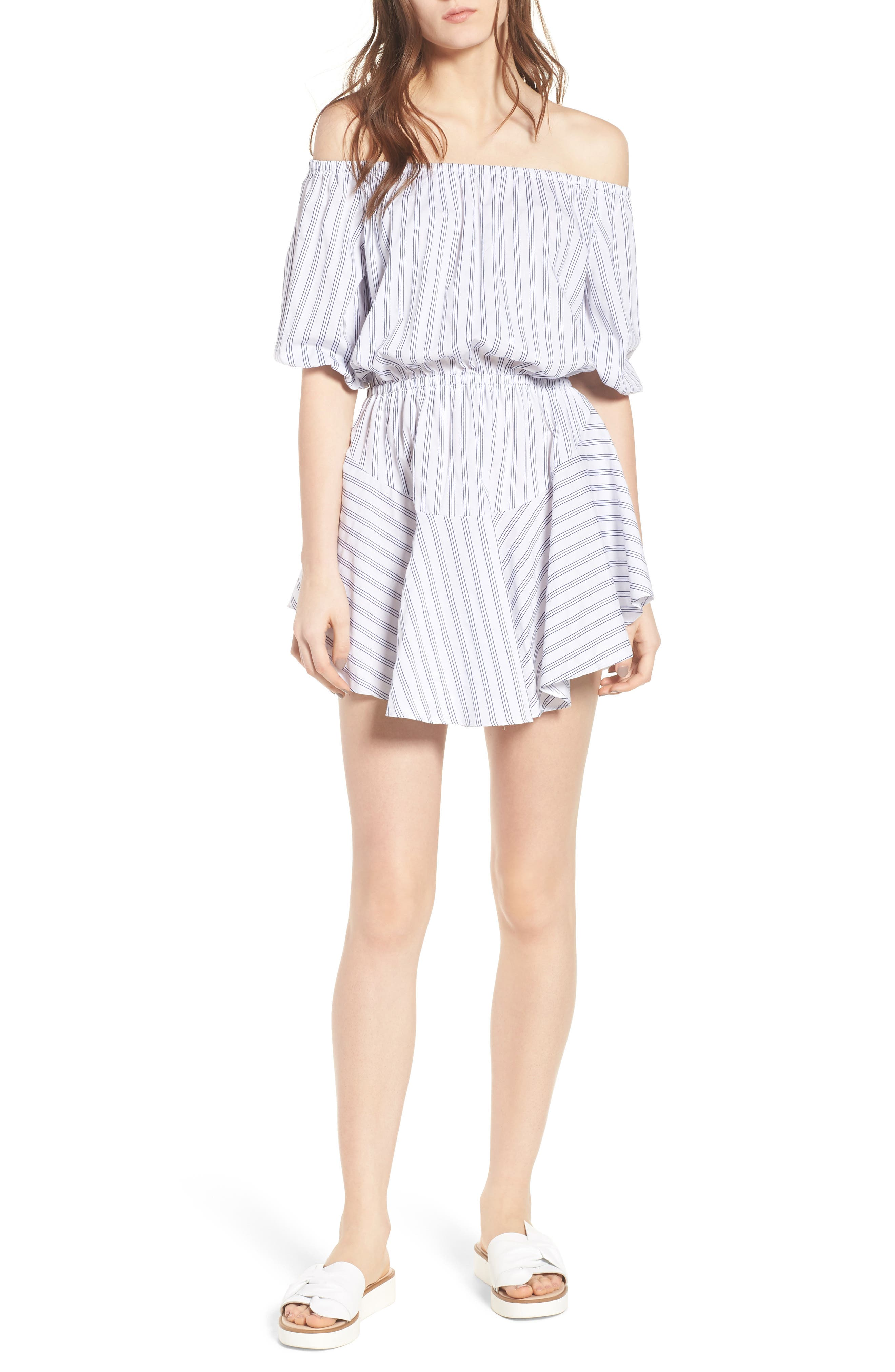 Barbados Stripe Off the Shoulder Dress,                         Main,                         color, 400