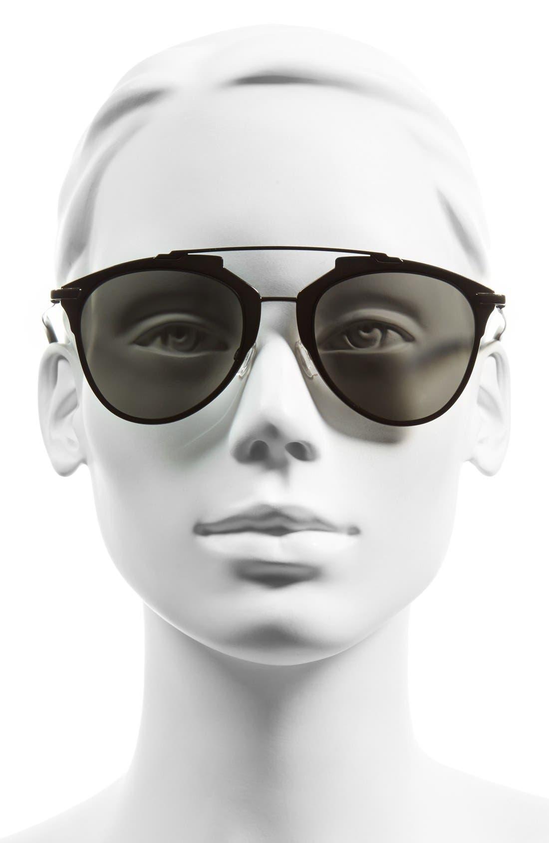 Reflected 52mm Brow Bar Sunglasses,                             Alternate thumbnail 2, color,                             001
