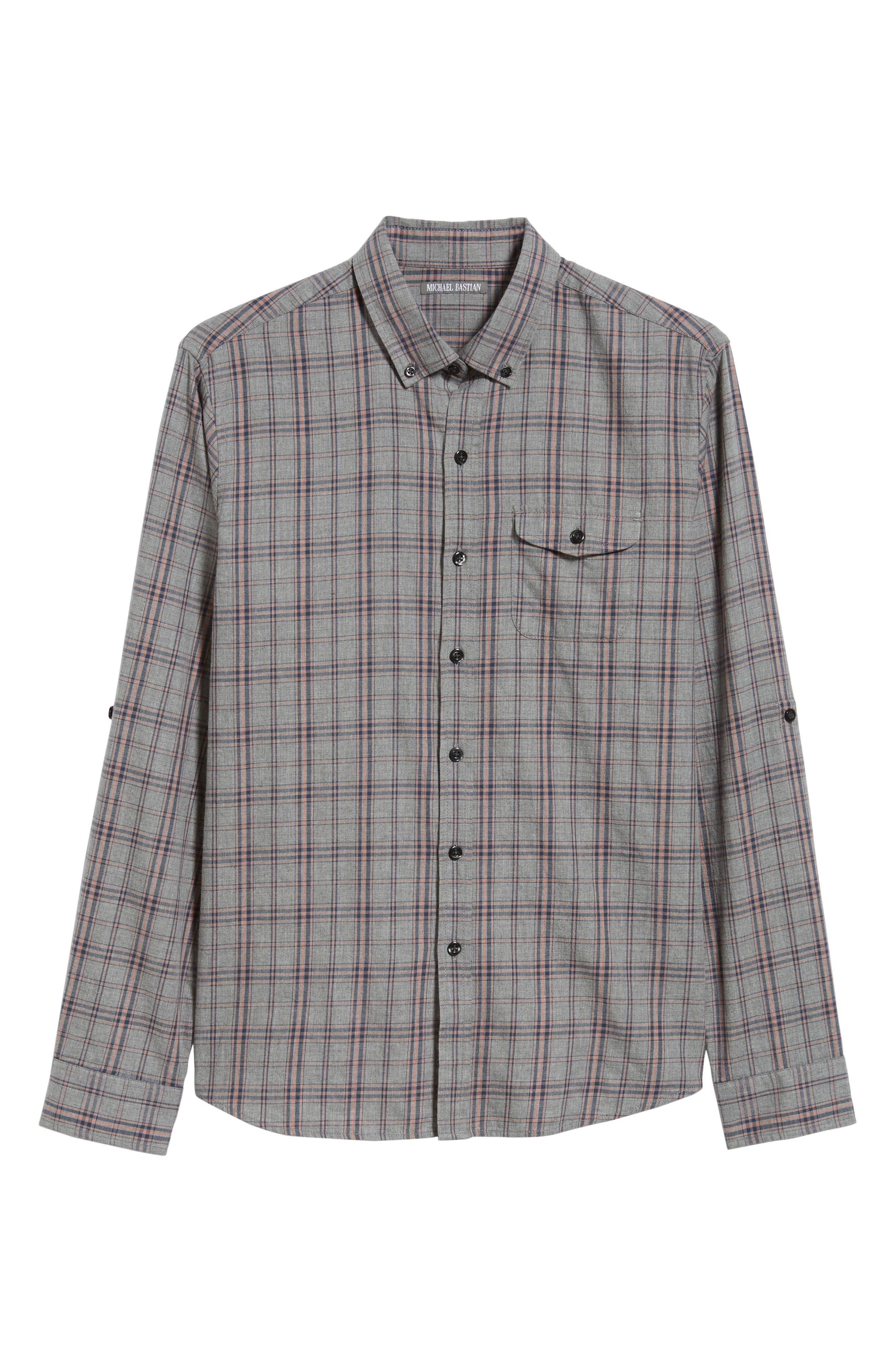 Flannel Twill Plaid Regular Fit Sport Shirt,                             Alternate thumbnail 5, color,                             CHARCOAL