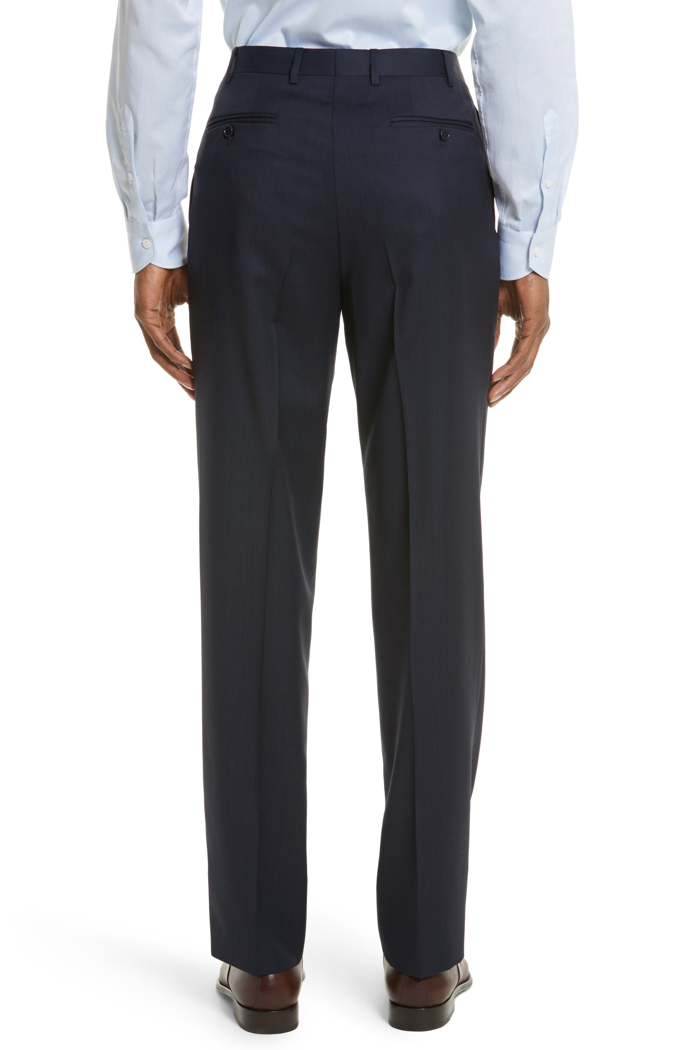 Flat Front Stripe Wool Trousers,                             Alternate thumbnail 12, color,