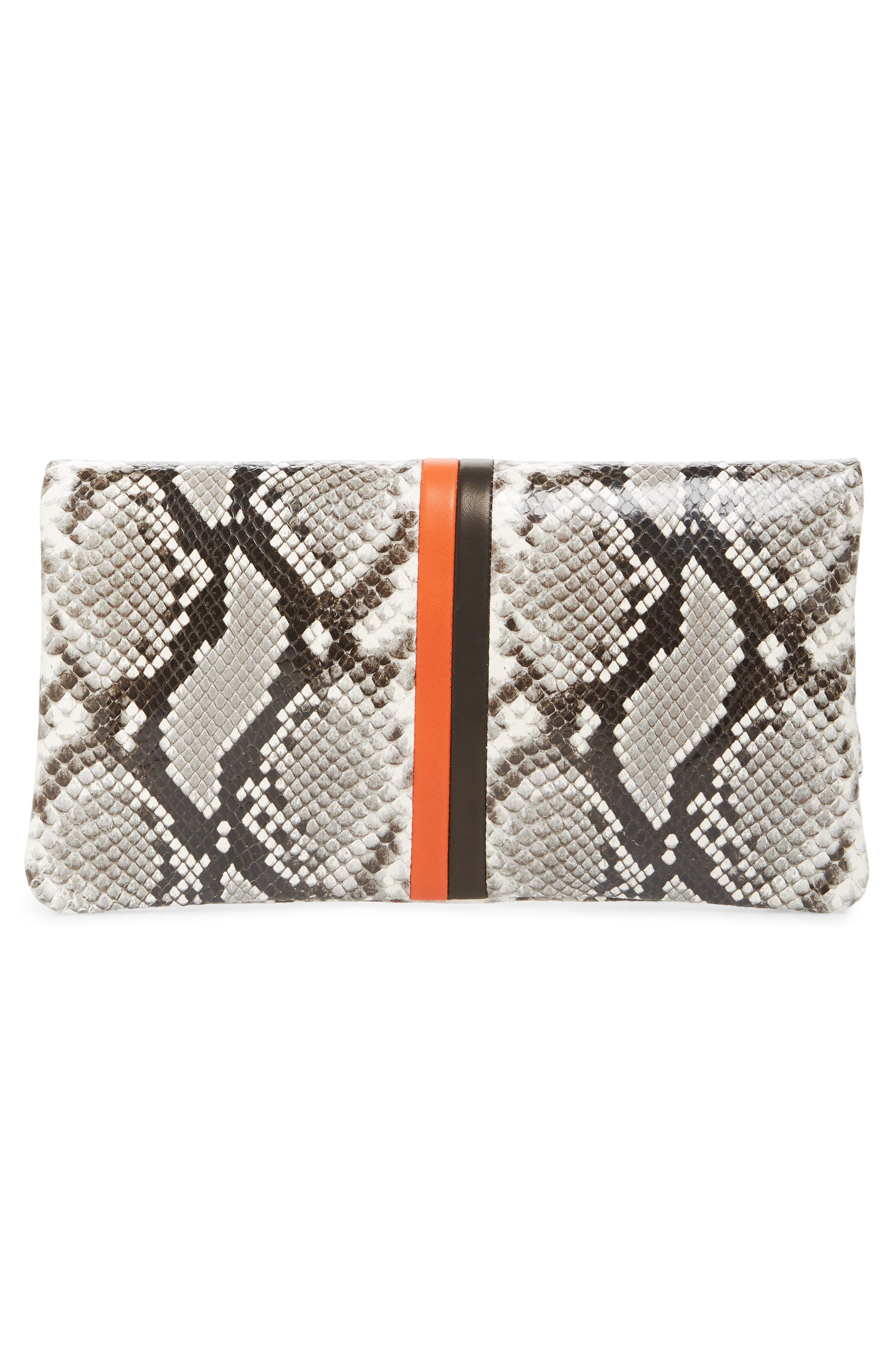 Python Embossed Leather Foldover Clutch,                             Alternate thumbnail 3, color,                             BLACK PYTHON WITH STRIPES