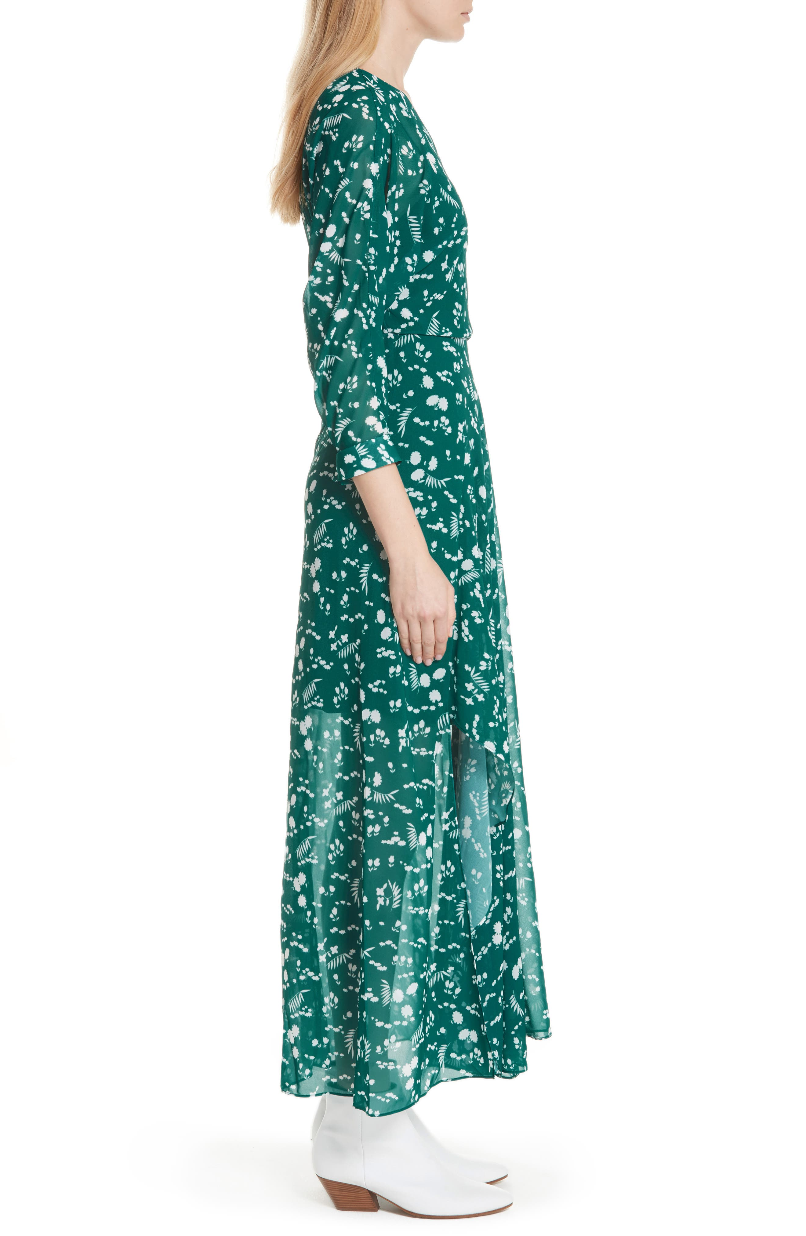 Floral Print Maxi Dress,                             Alternate thumbnail 3, color,
