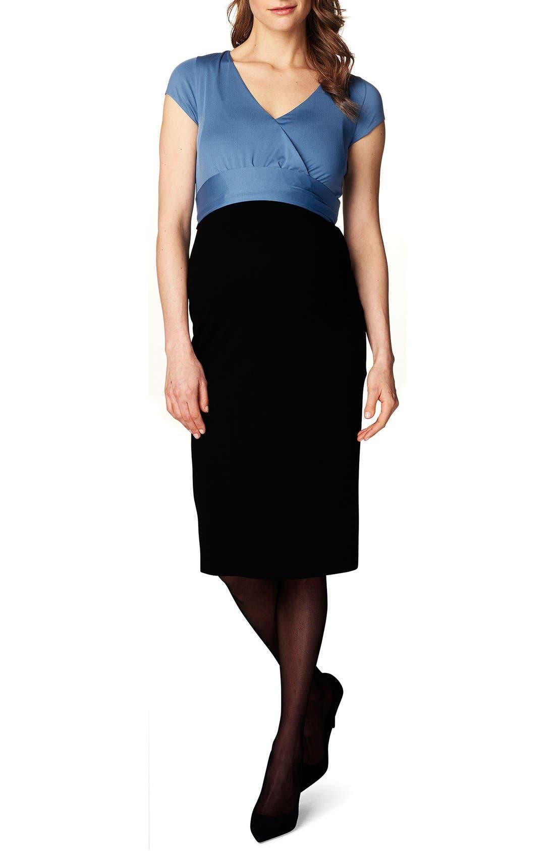 'Tara' Surplice Maternity Dress,                             Main thumbnail 1, color,                             BLACK