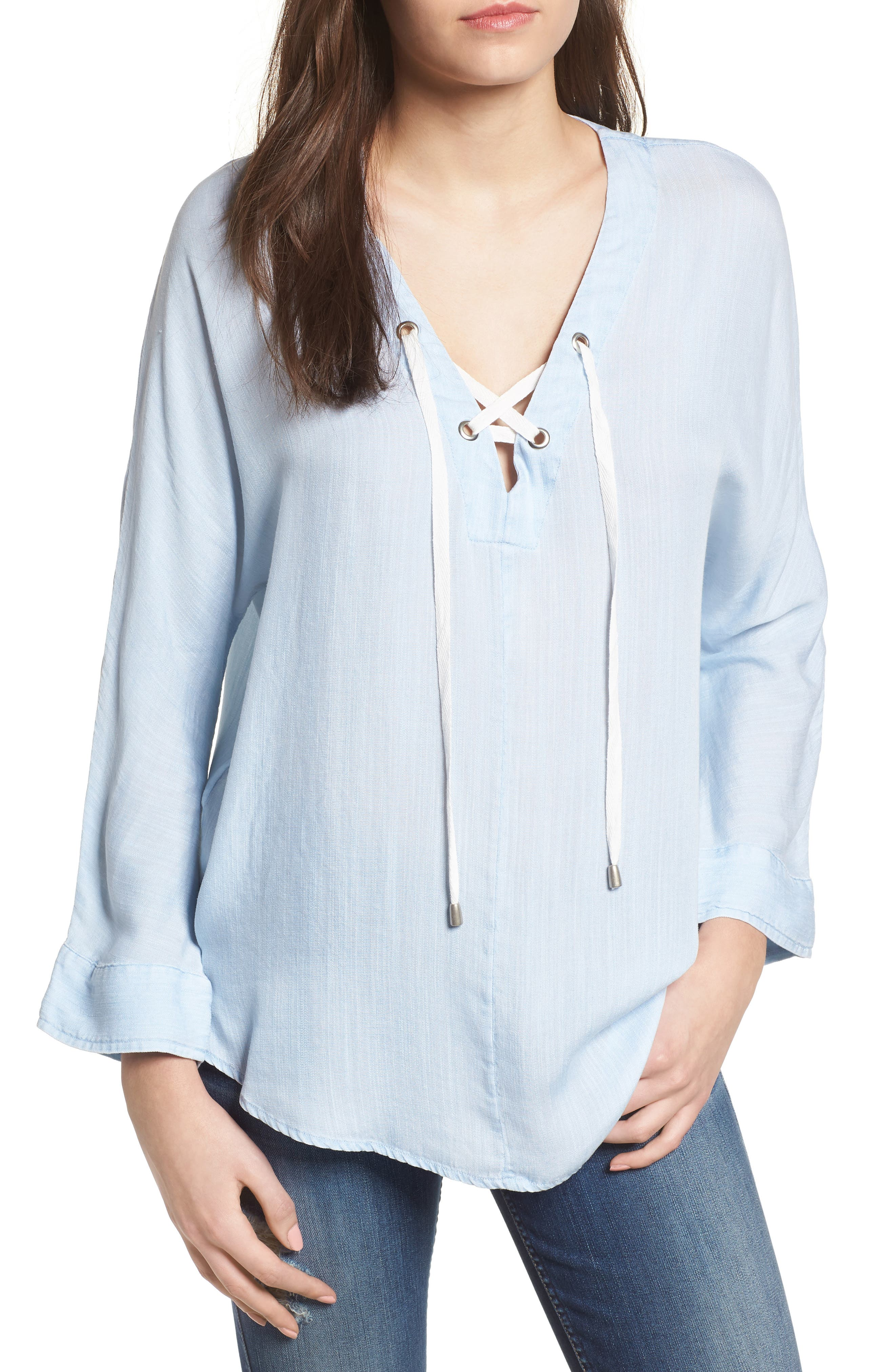 Lily Lace-Up Top,                             Main thumbnail 1, color,                             421