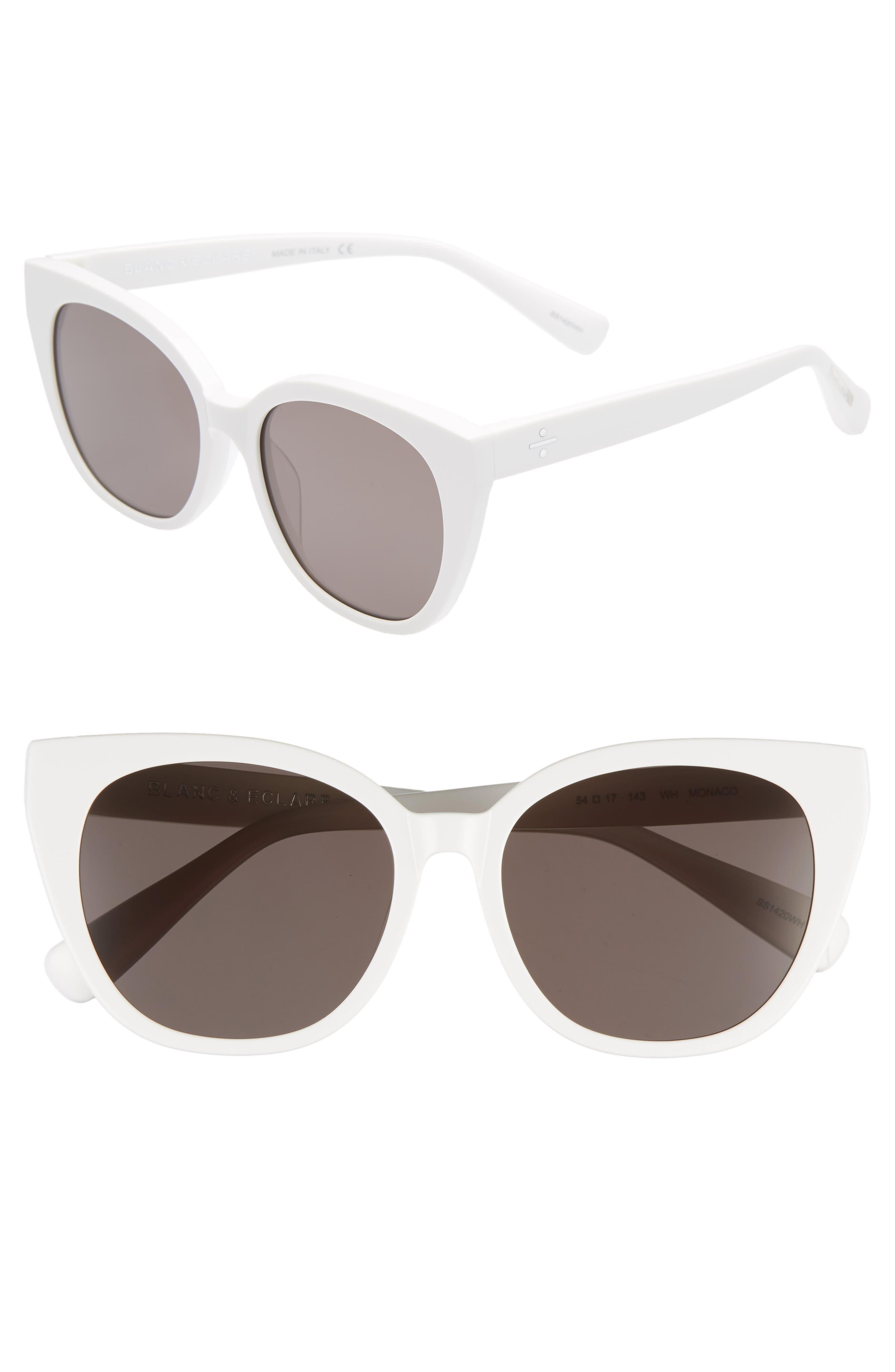 BLANC & ECLARE Monaco 54mm Cat Eye Sunglasses,                             Main thumbnail 1, color,                             SNOW/ SMOG GREY