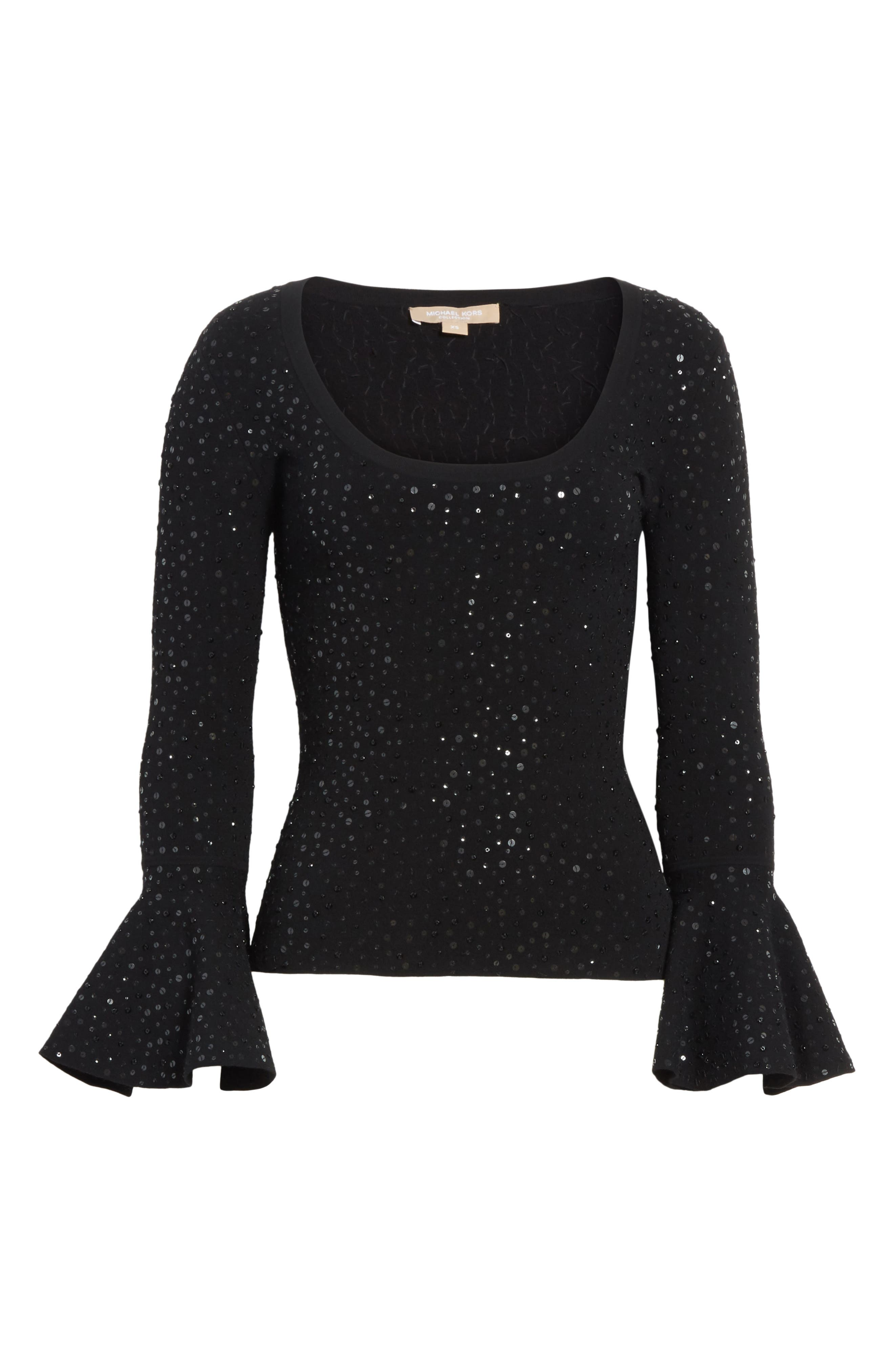 Sequin Bell Sleeve Top,                             Alternate thumbnail 6, color,                             001