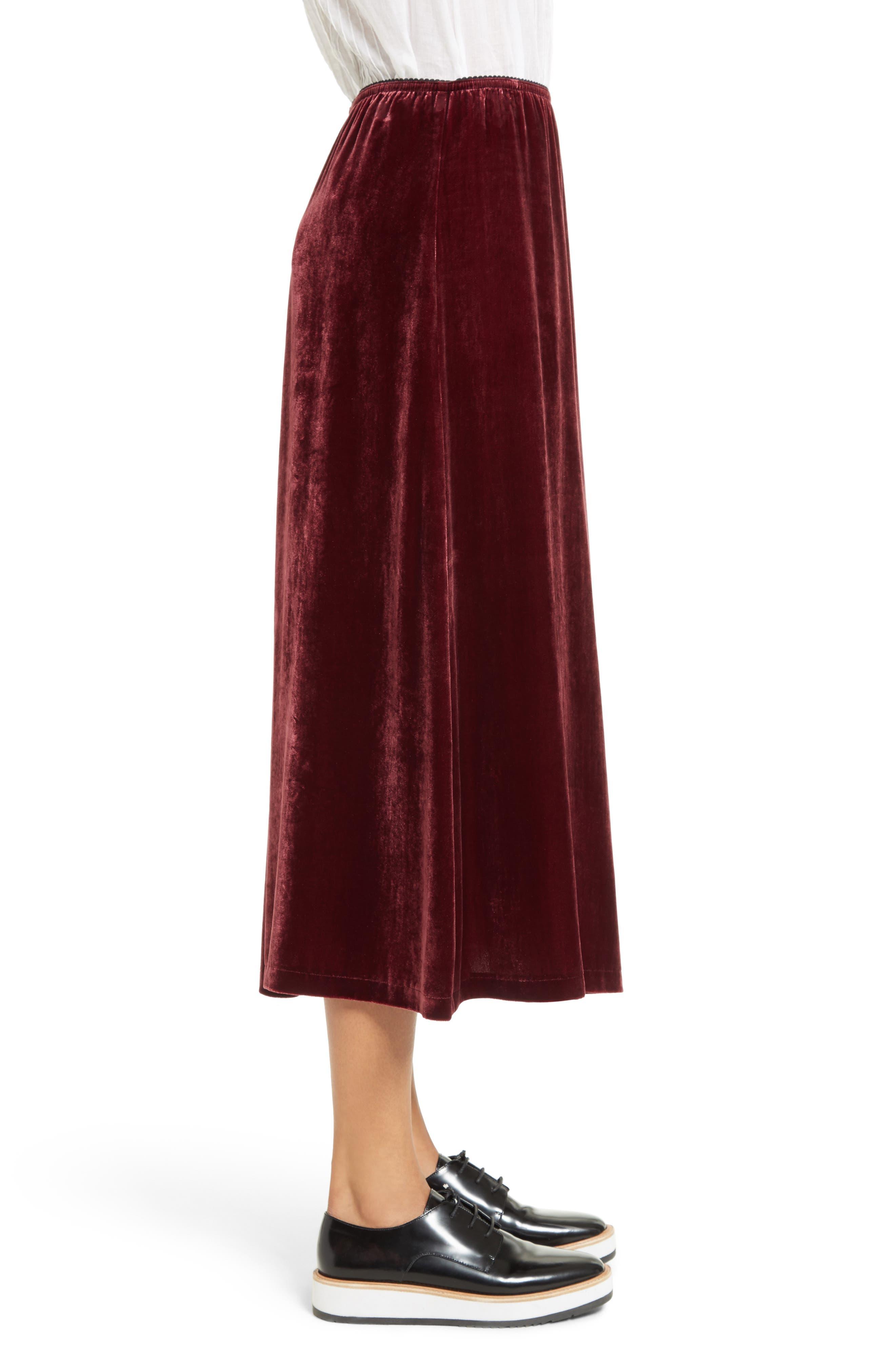 Velvet Midi Skirt,                             Alternate thumbnail 3, color,                             601