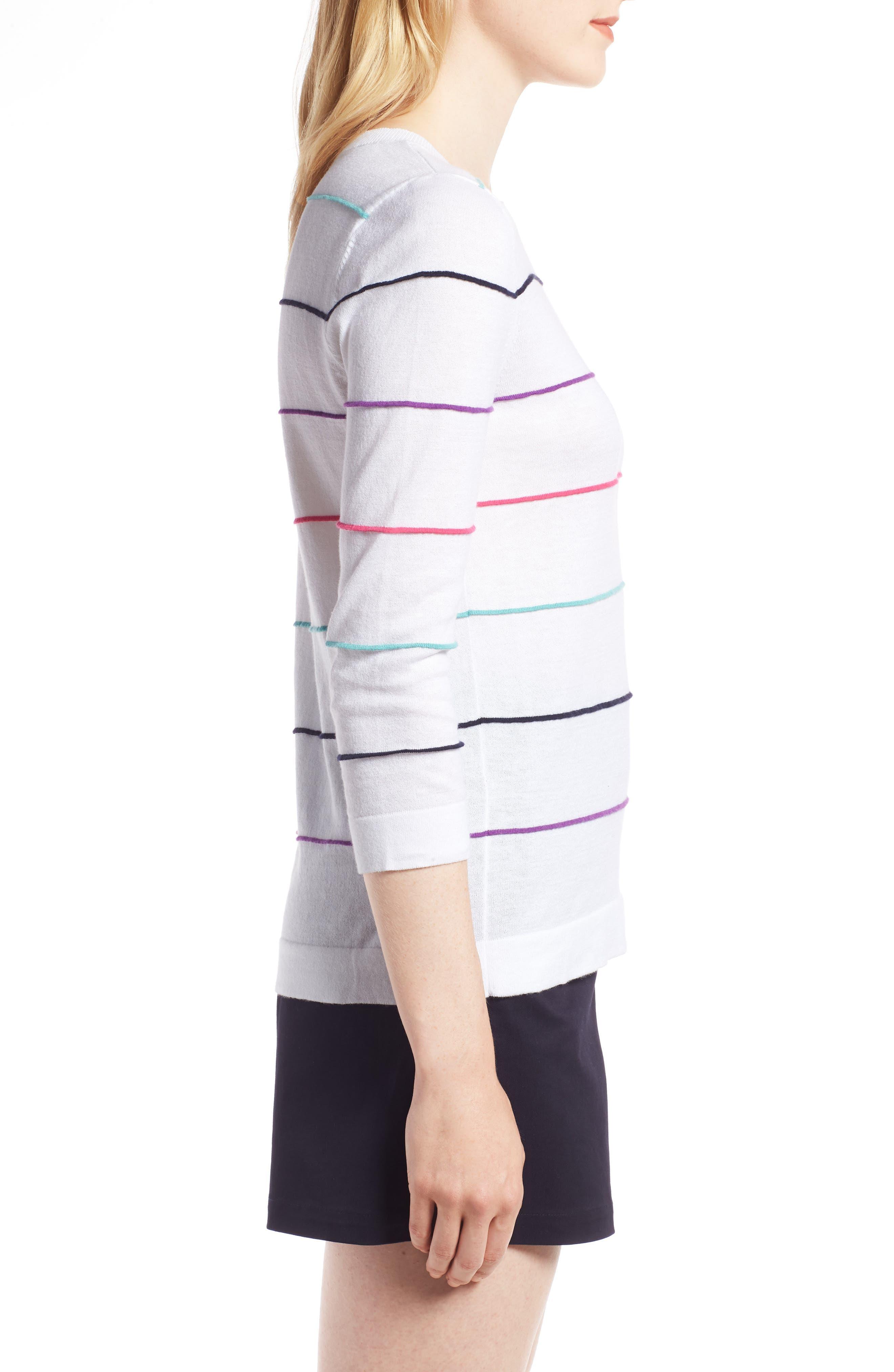 Stripe Cotton Sweater,                             Alternate thumbnail 3, color,                             100