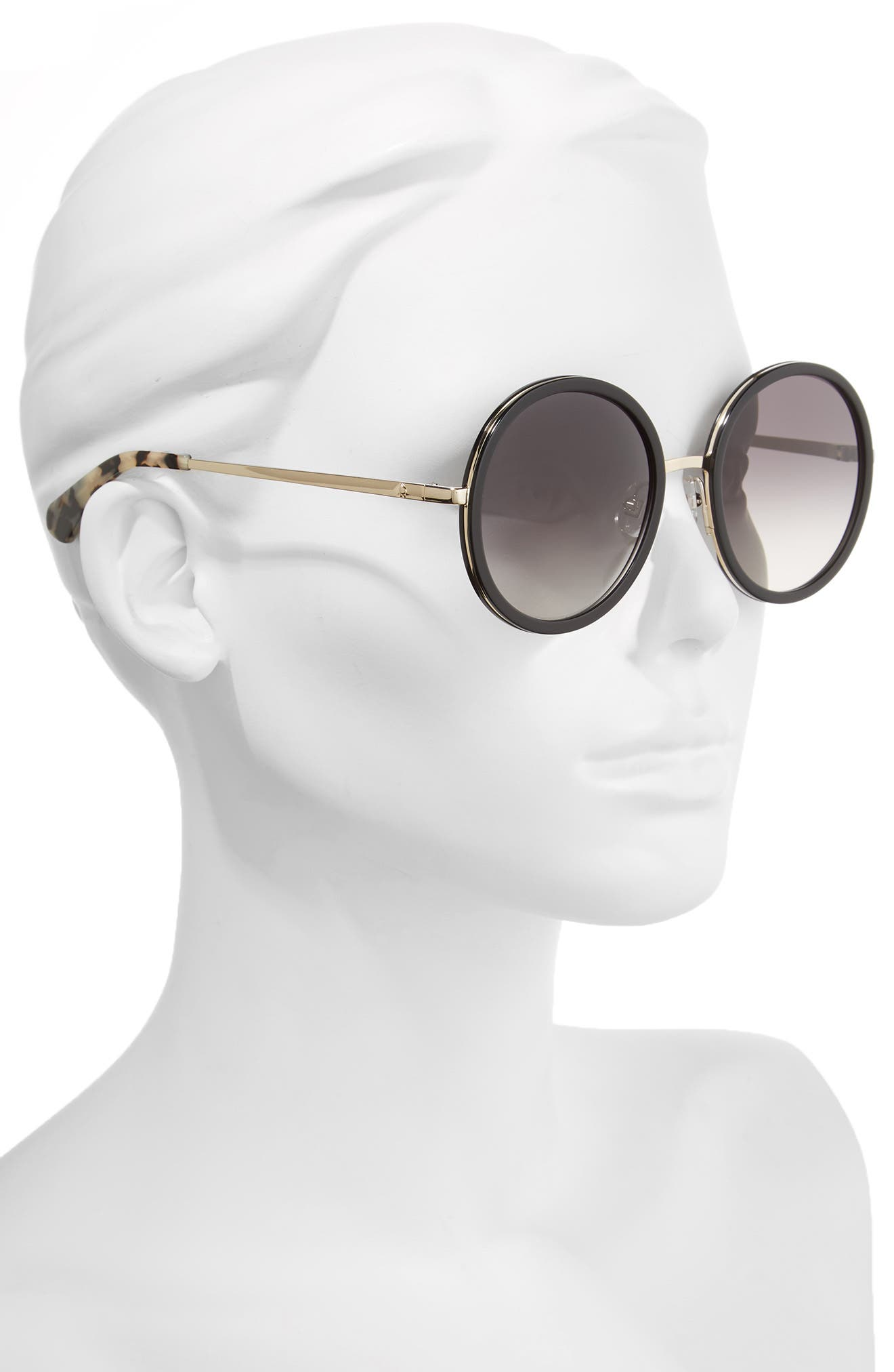 lamonica 54mm gradient lens round sunglasses,                             Alternate thumbnail 2, color,                             BLACK/ GOLD
