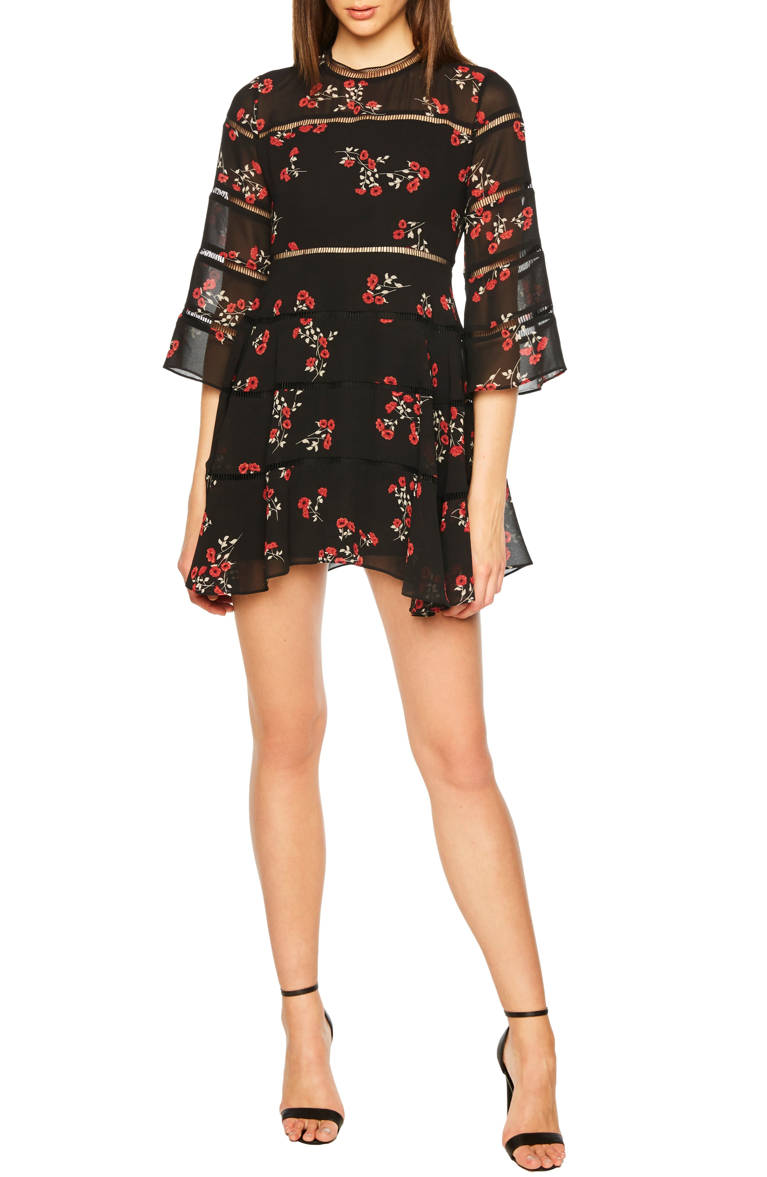 Bardot Poppy Print Dress, Black