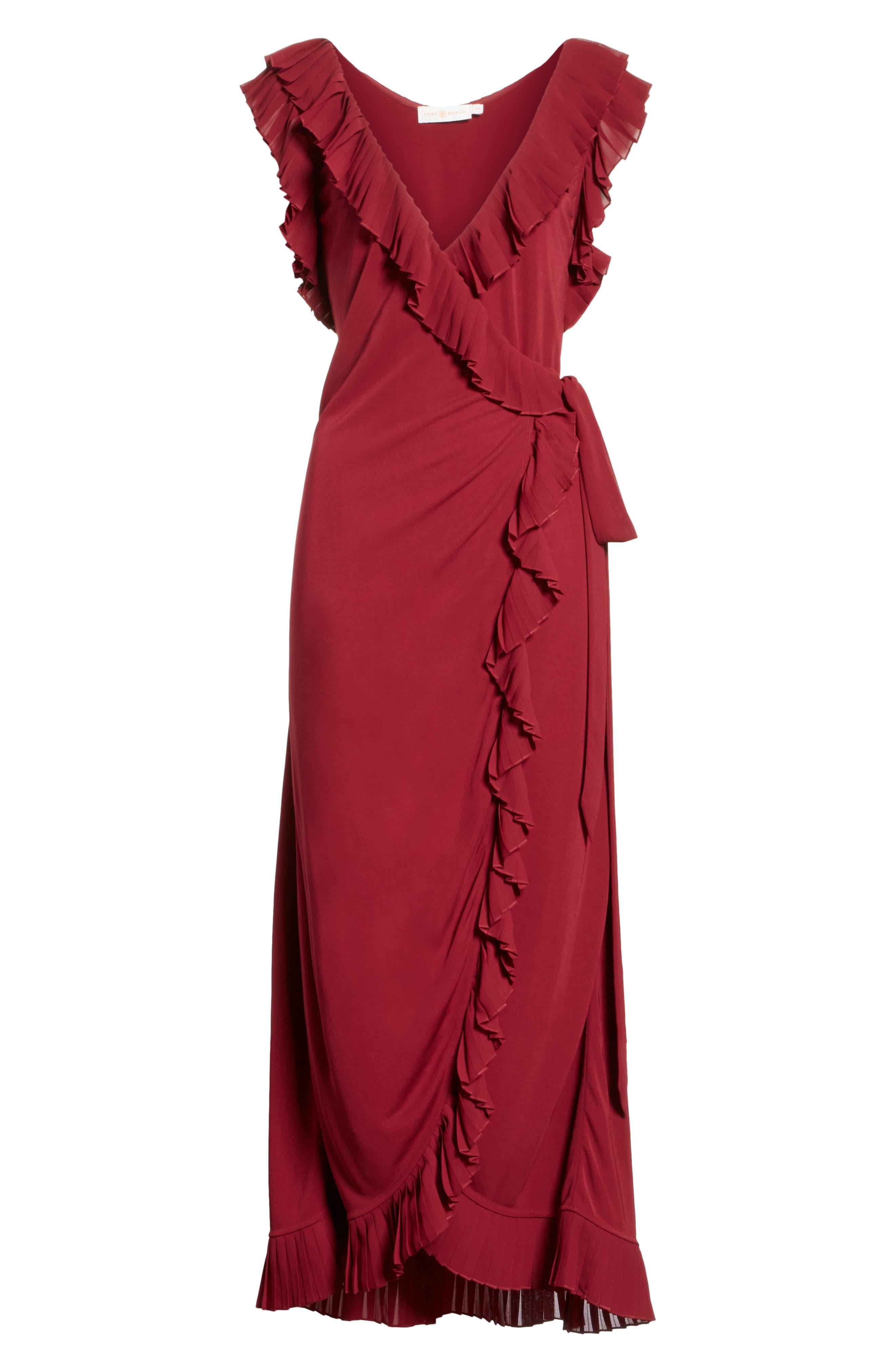 Whitney Wrap Midi Dress,                             Alternate thumbnail 6, color,