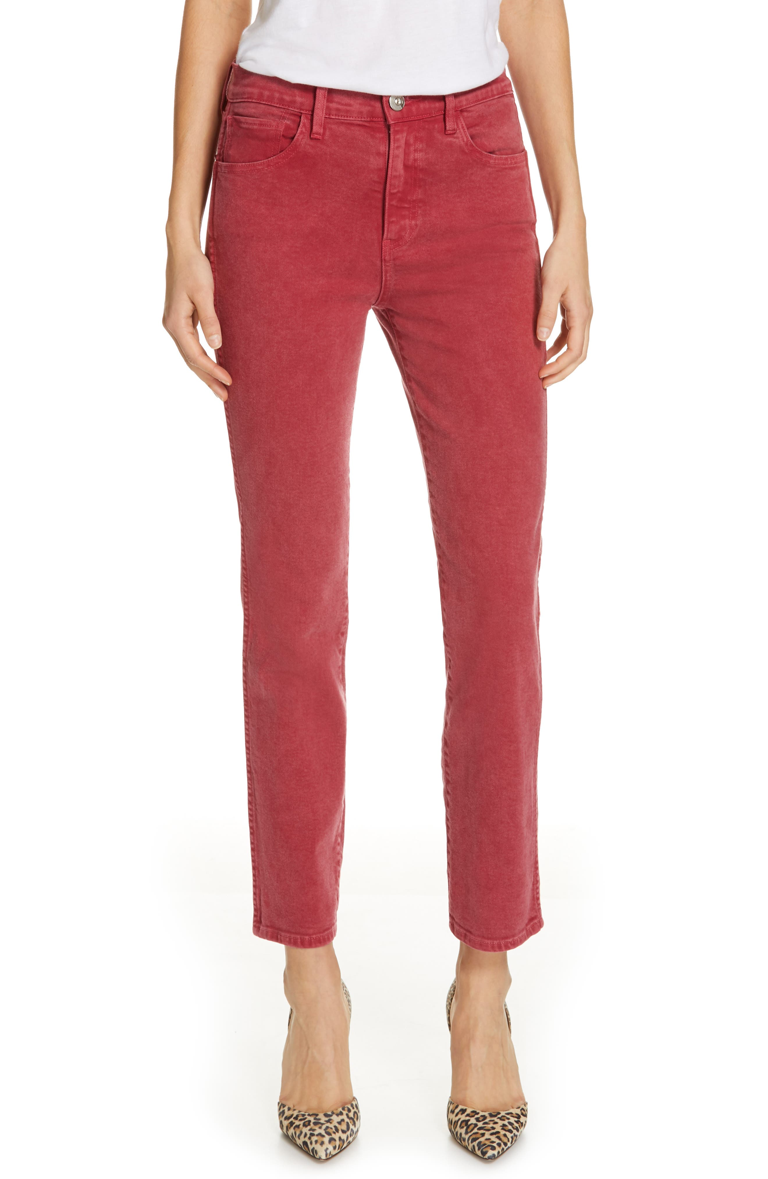 3X1 NYC,                             Stevie Straight Leg Jeans,                             Main thumbnail 1, color,                             MINERAL RUST RED