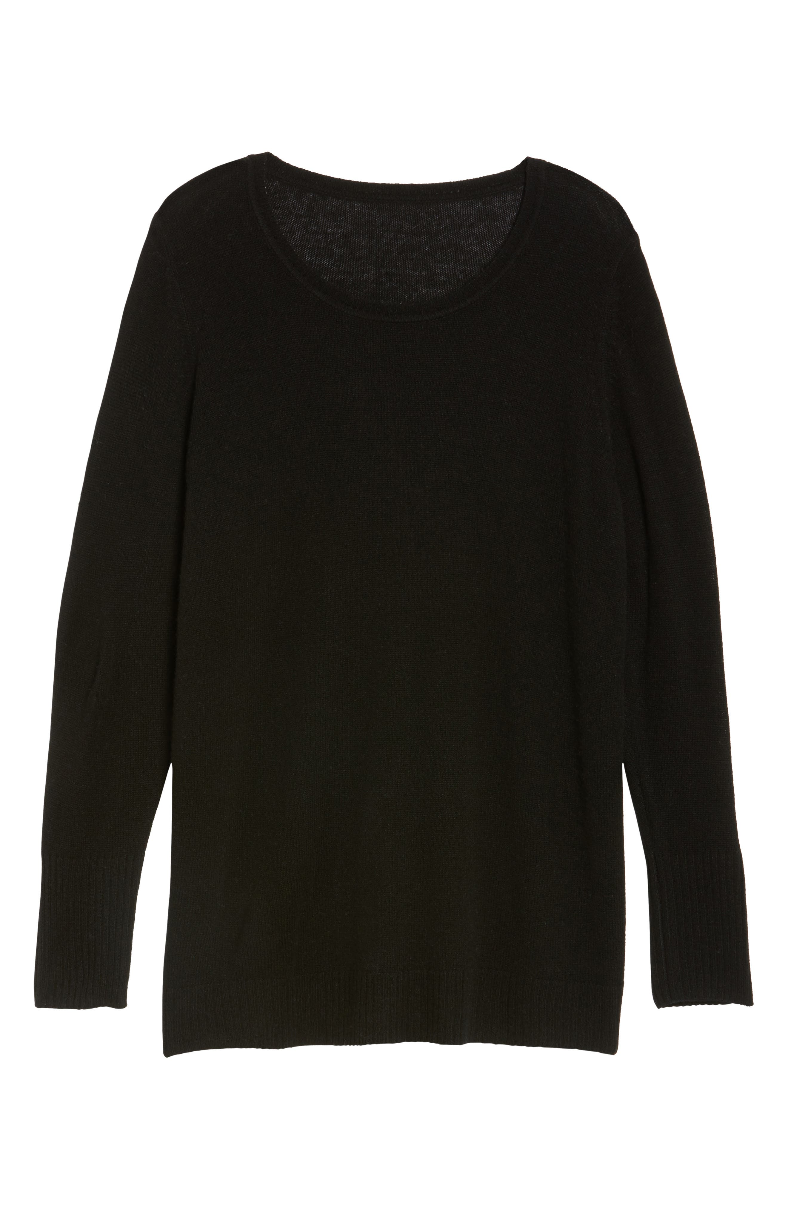 Crewneck Side Split Wool & Cashmere Pullover,                             Alternate thumbnail 6, color,                             001