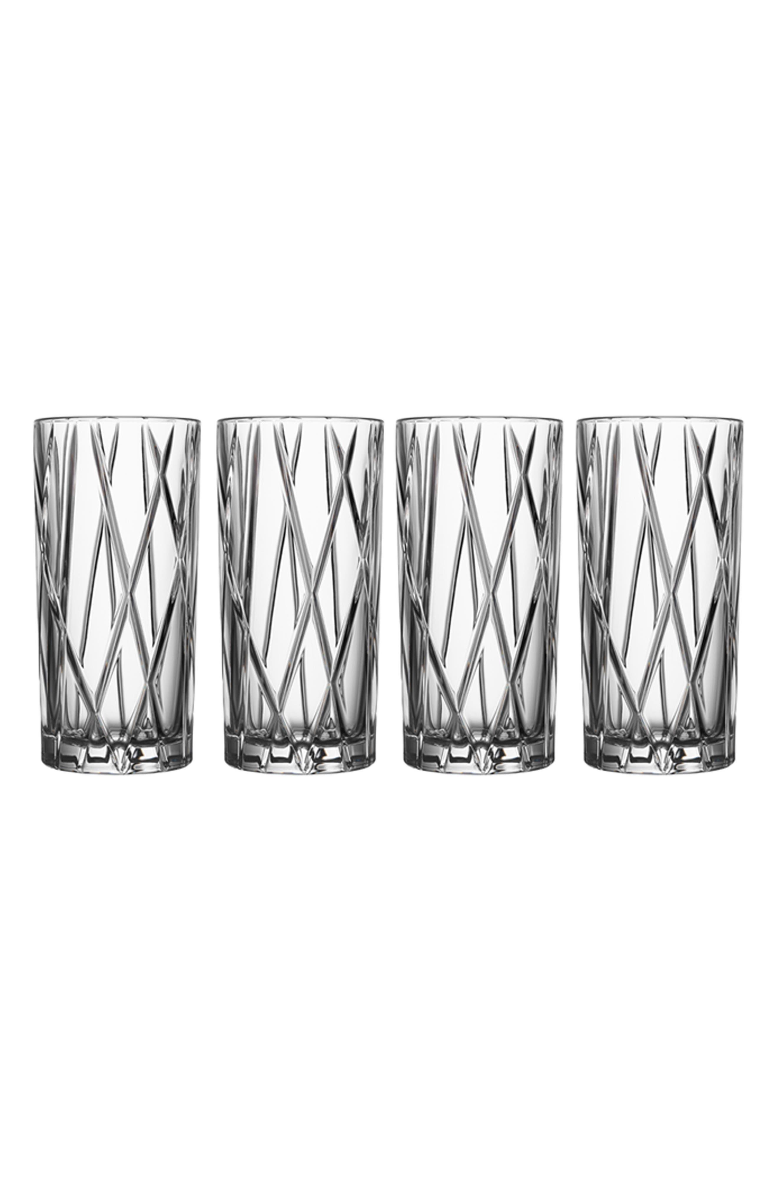 City Set of 4 Crystal Highball Glasses,                             Main thumbnail 1, color,                             100