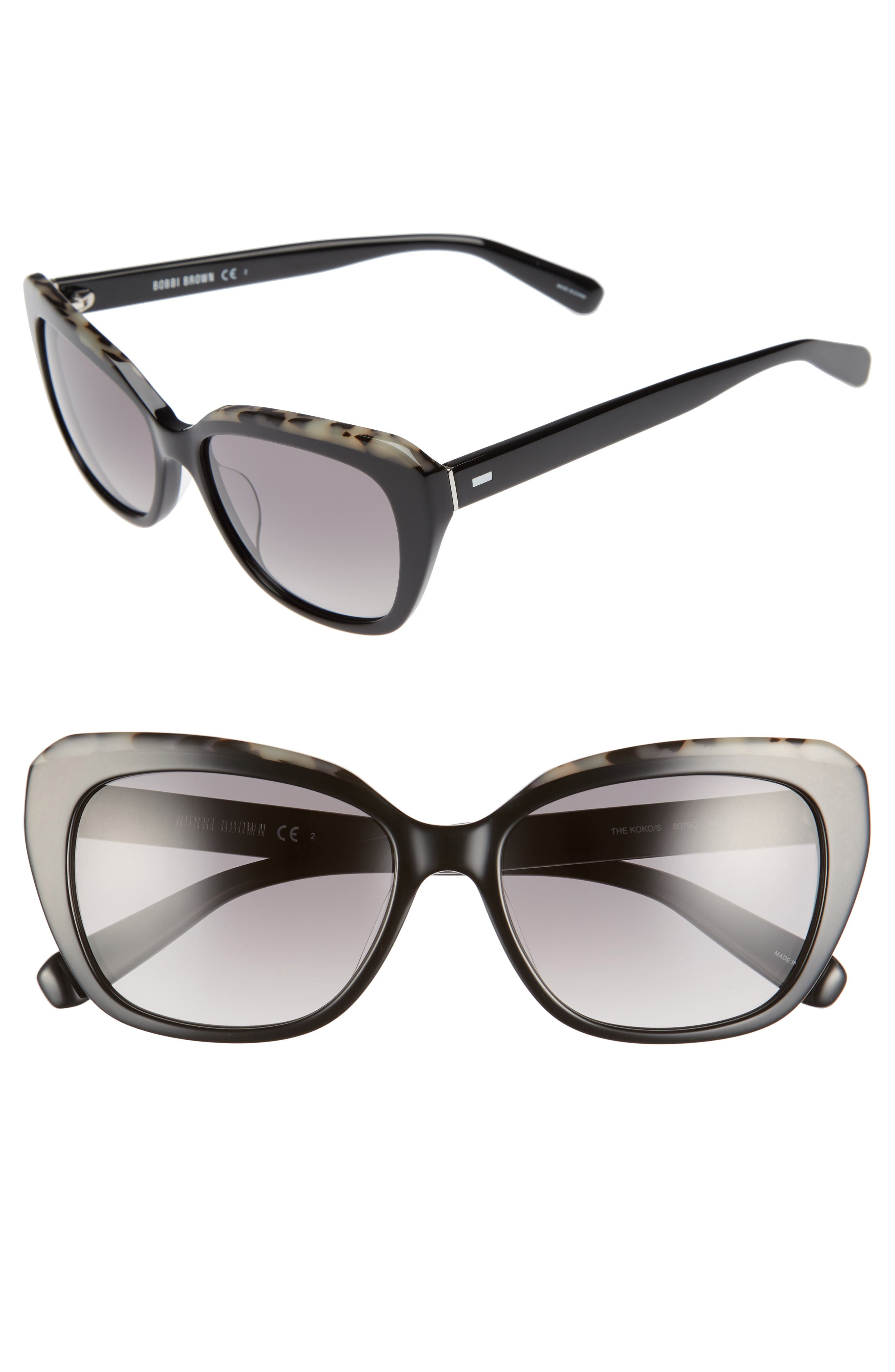 Bobbie Brown The Koko 55mm Cat Eye Sunglasses,                         Main,                         color, 001
