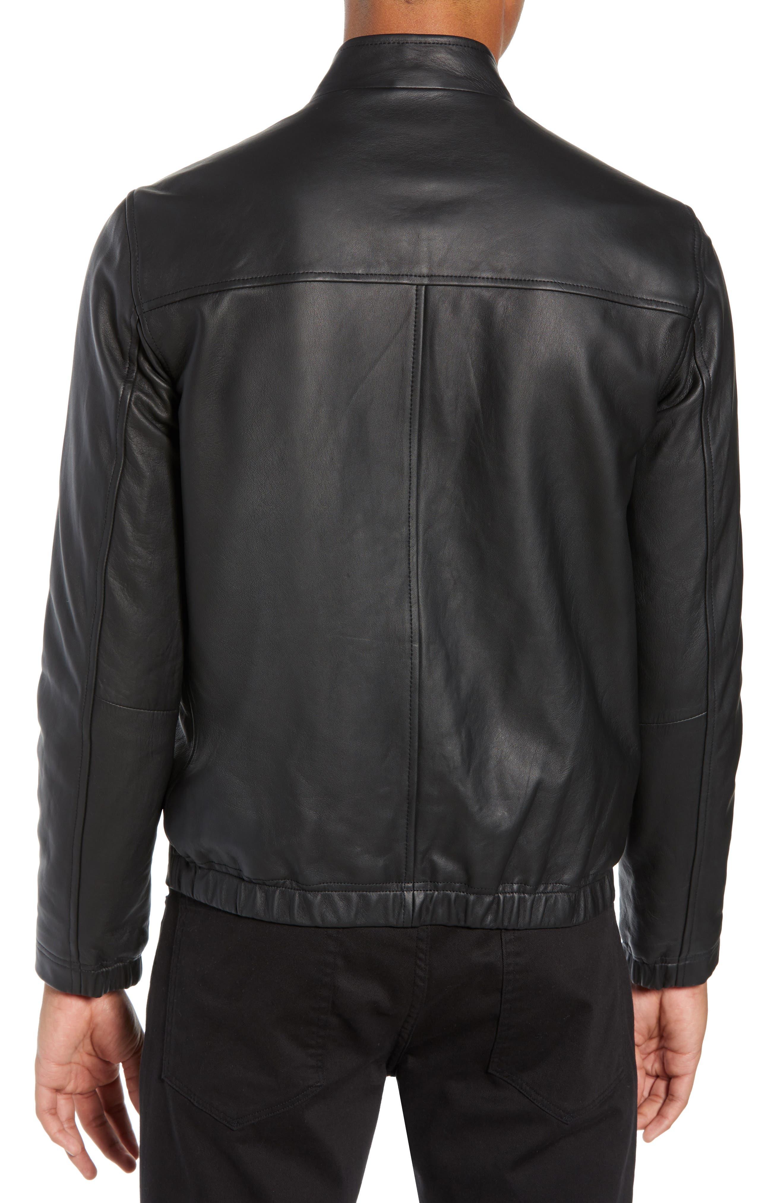 Morvek L.Burgos Trim Fit Leather Jacket,                             Alternate thumbnail 2, color,                             BLACK