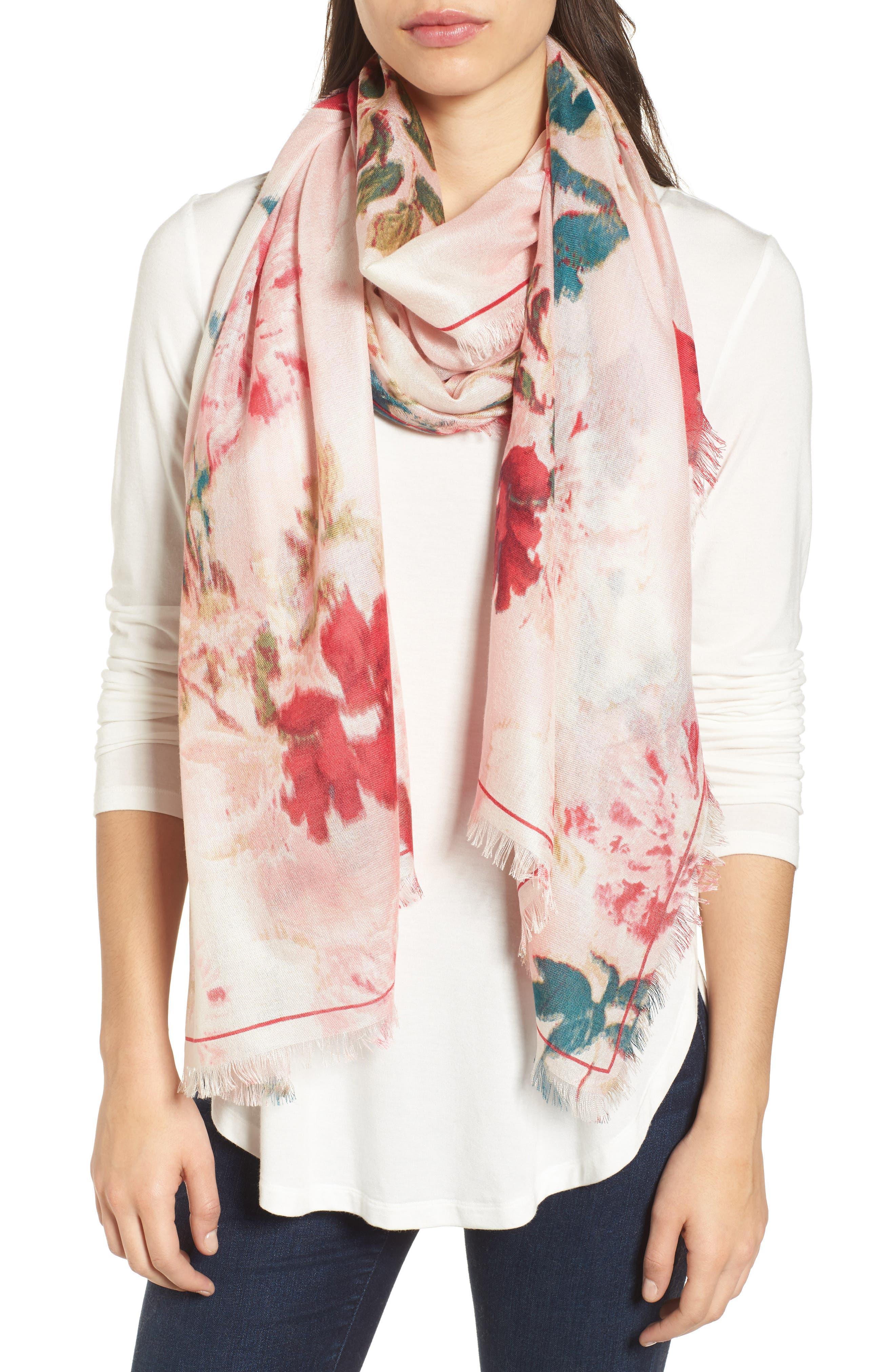 Eyelash Trim Print Cashmere & Silk Wrap,                             Main thumbnail 30, color,