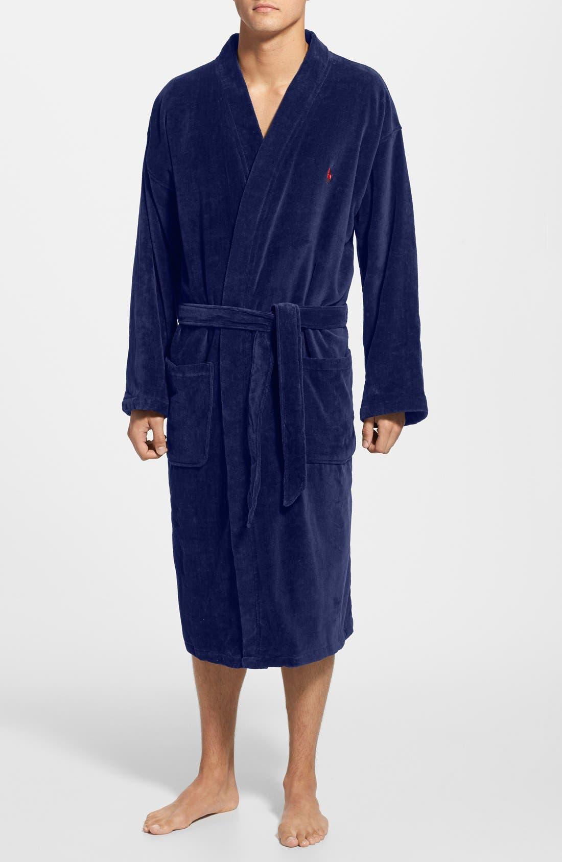 Cotton Fleece Robe,                         Main,                         color, NAVY