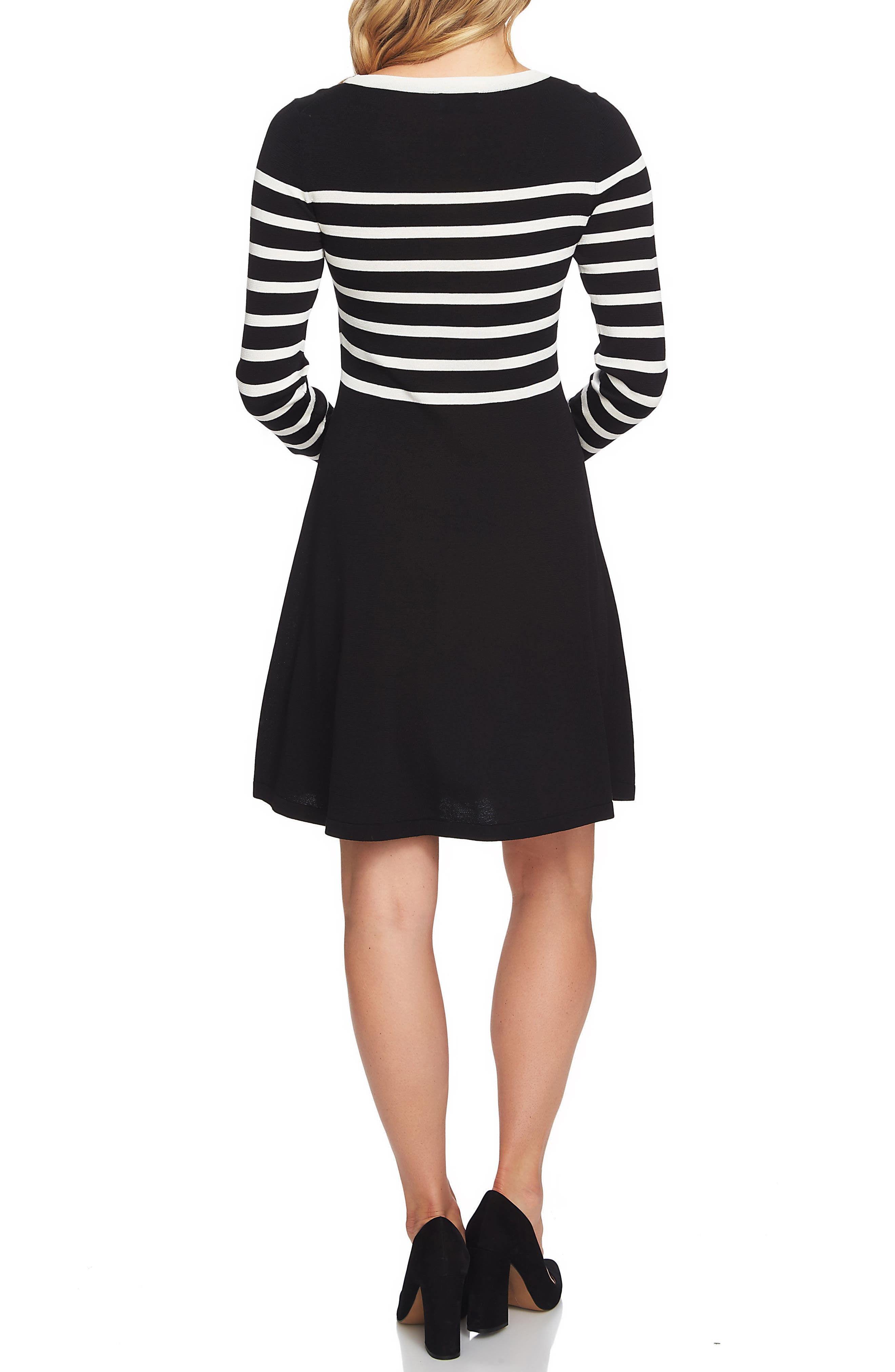 Stripe A-Line Sweater Dress,                             Alternate thumbnail 2, color,                             006