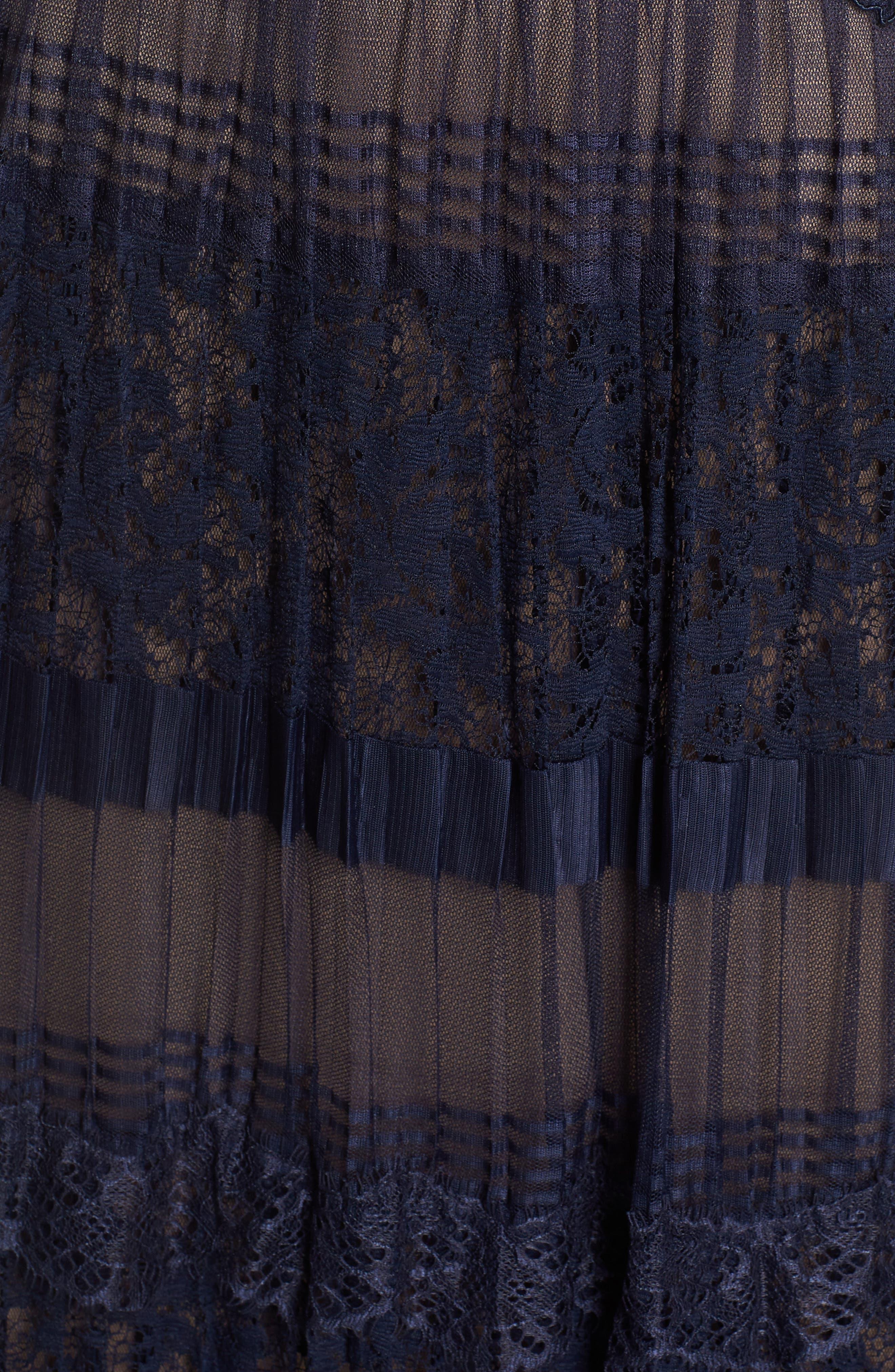 Illusion V-Neck Lace Gown,                             Alternate thumbnail 5, color,                             410
