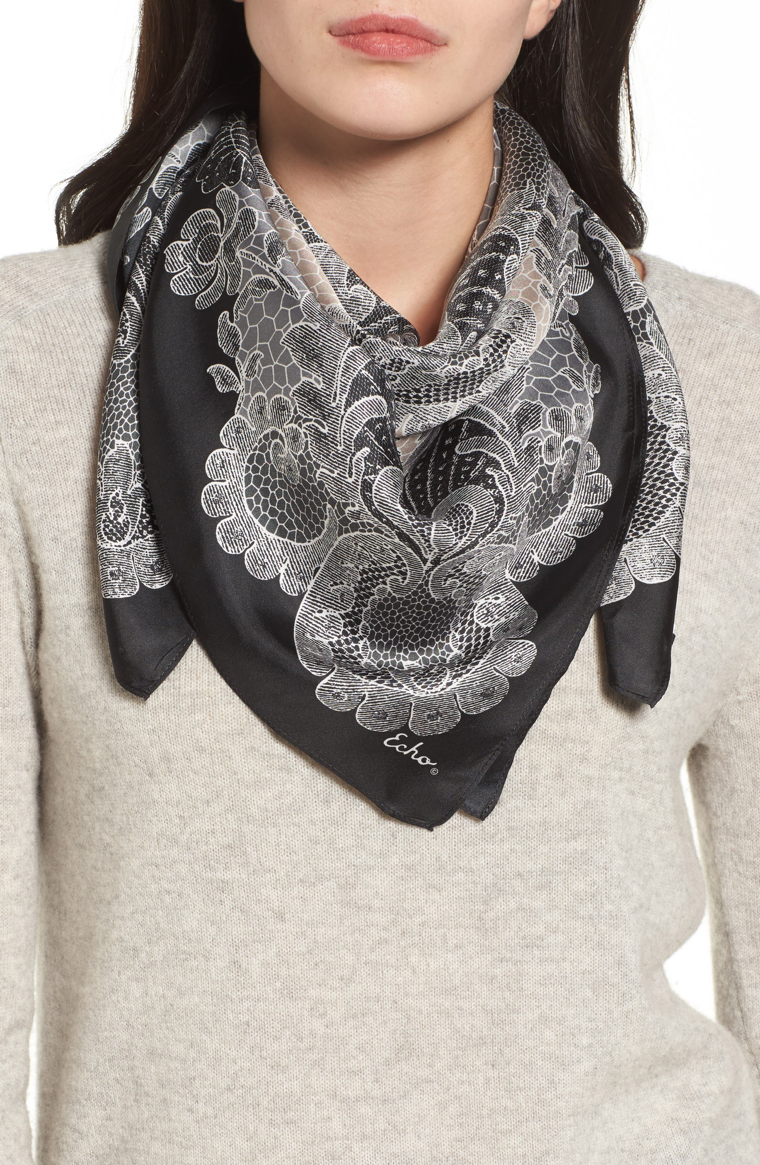 Camden Lace Square Silk Scarf,                             Main thumbnail 1, color,                             001